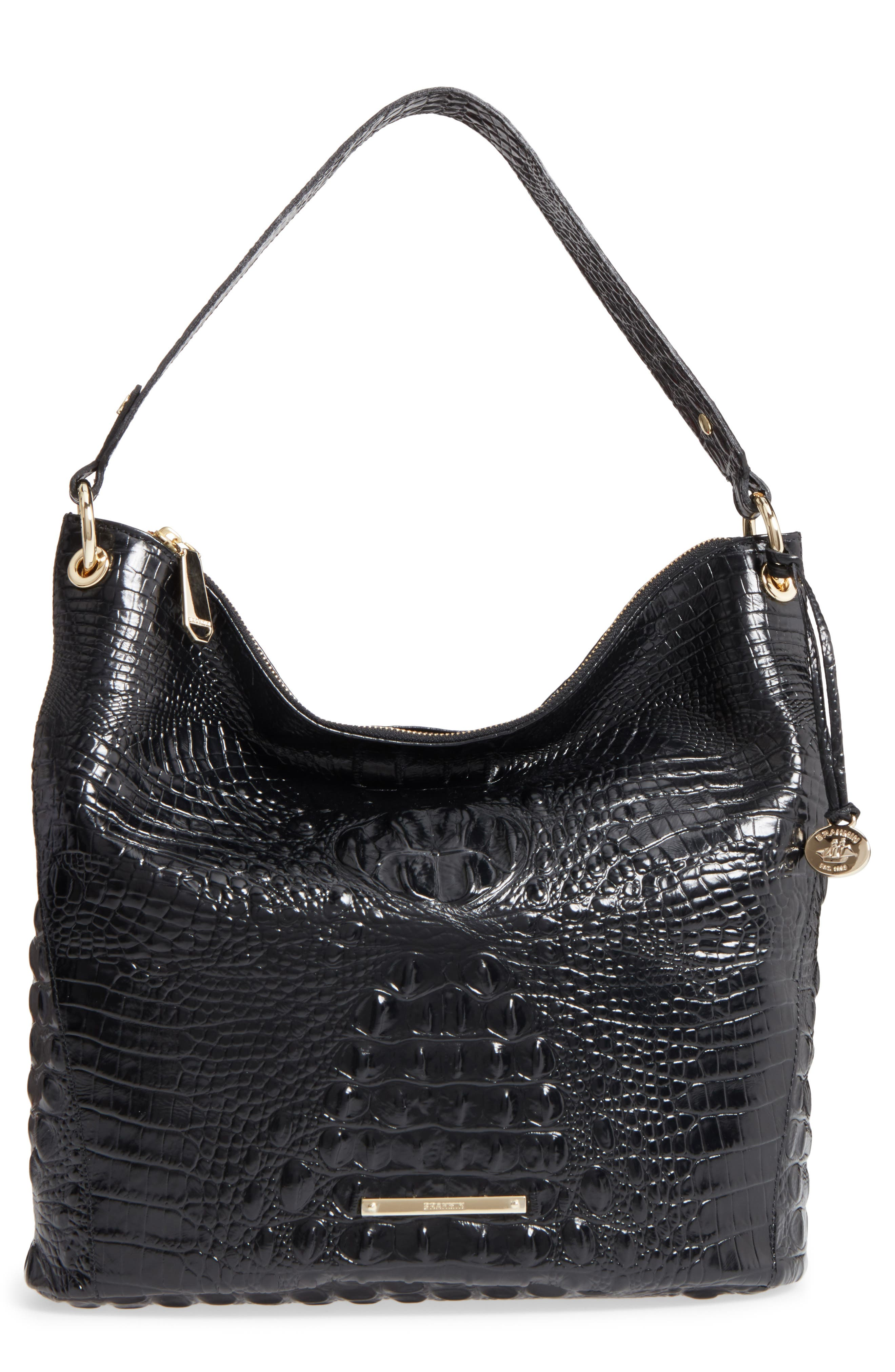Melbourne Sevi Croc Embossed Leather Hobo,                         Main,                         color, Black