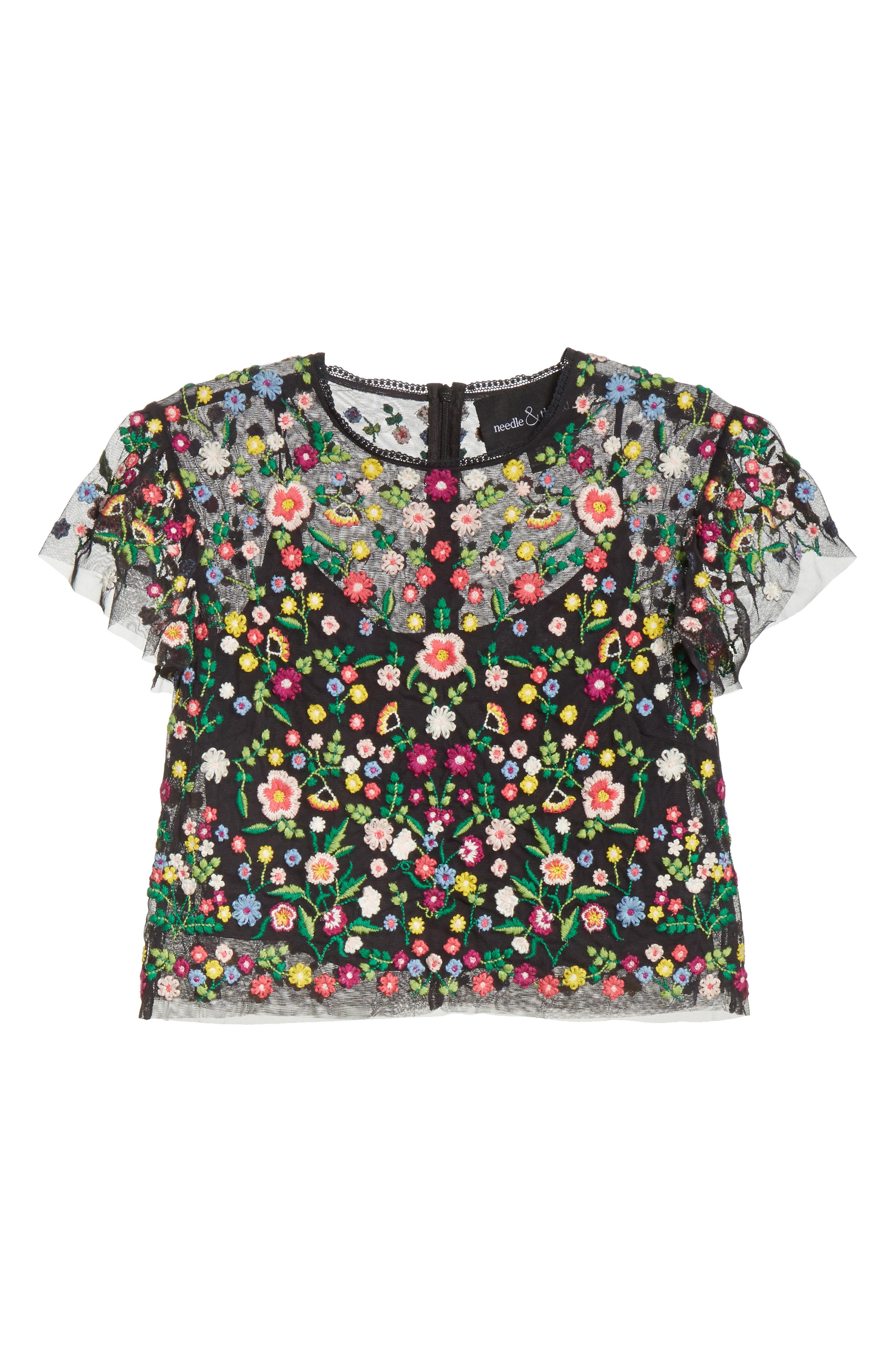 Lazy Daisy Crop Top,                             Alternate thumbnail 6, color,                             Washed Black
