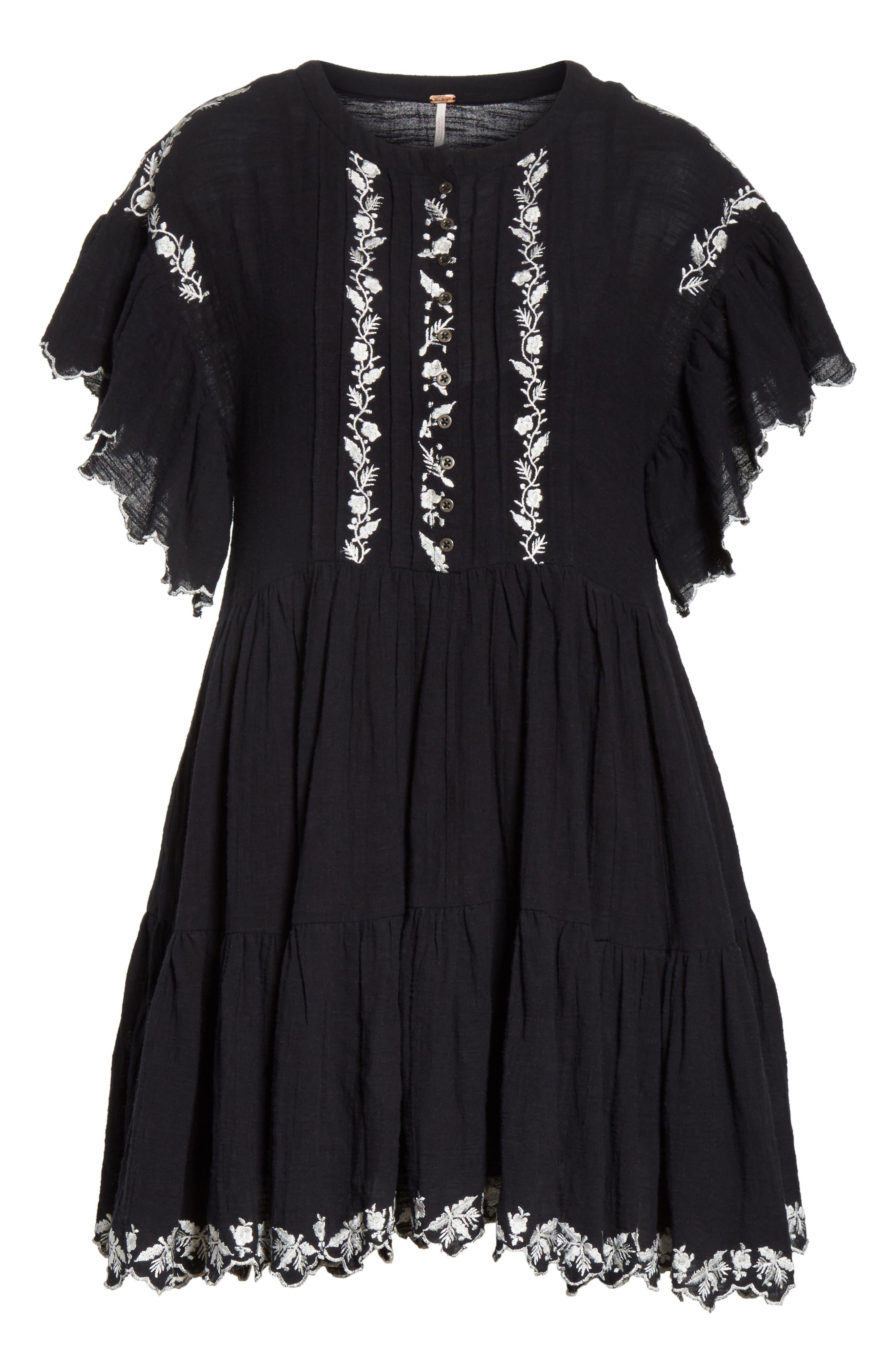 Santiago Embroidered Minidress,                             Alternate thumbnail 6, color,                             Black