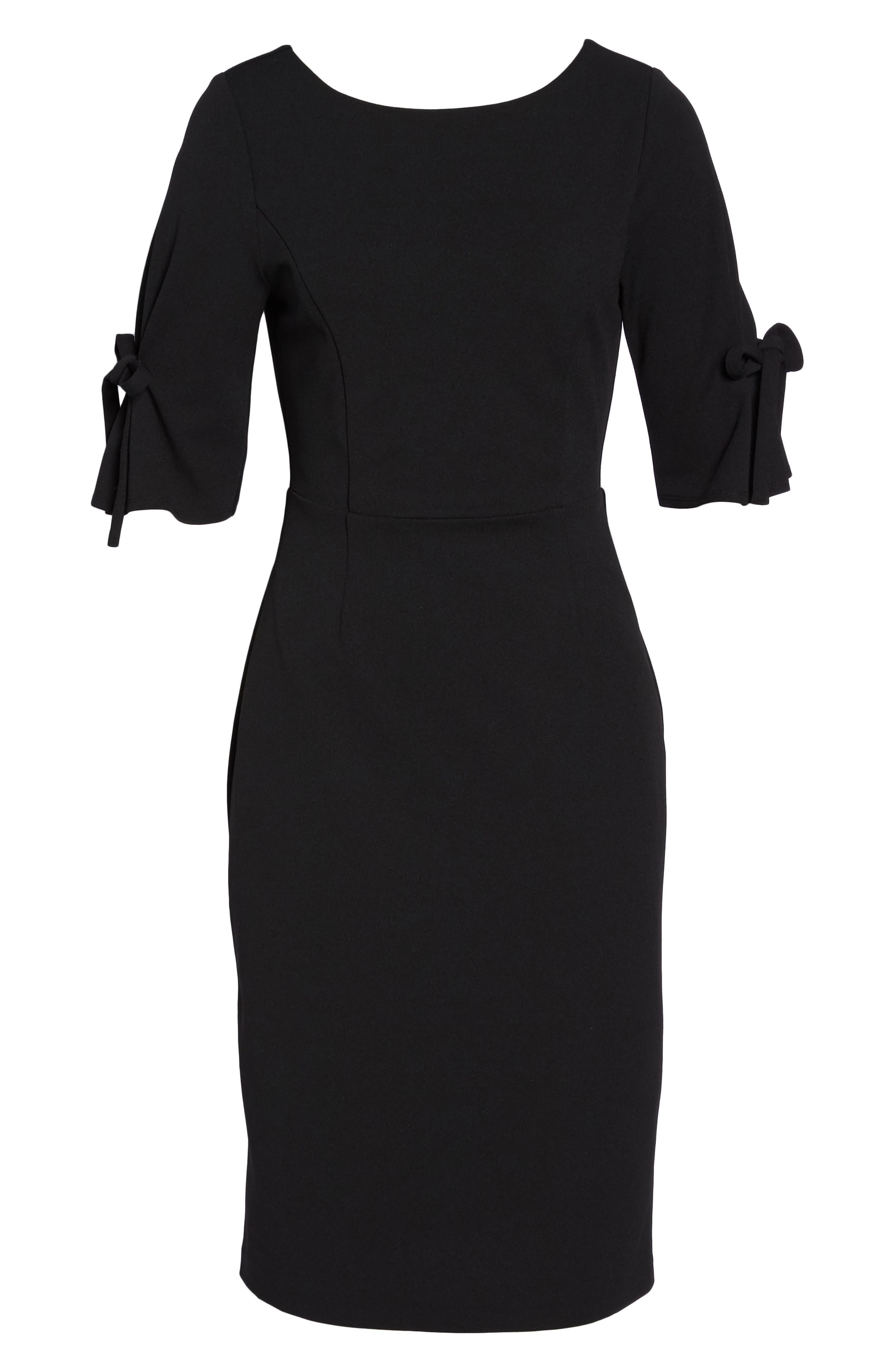 Tie Sleeve Sheath Dress,                             Alternate thumbnail 6, color,                             Black