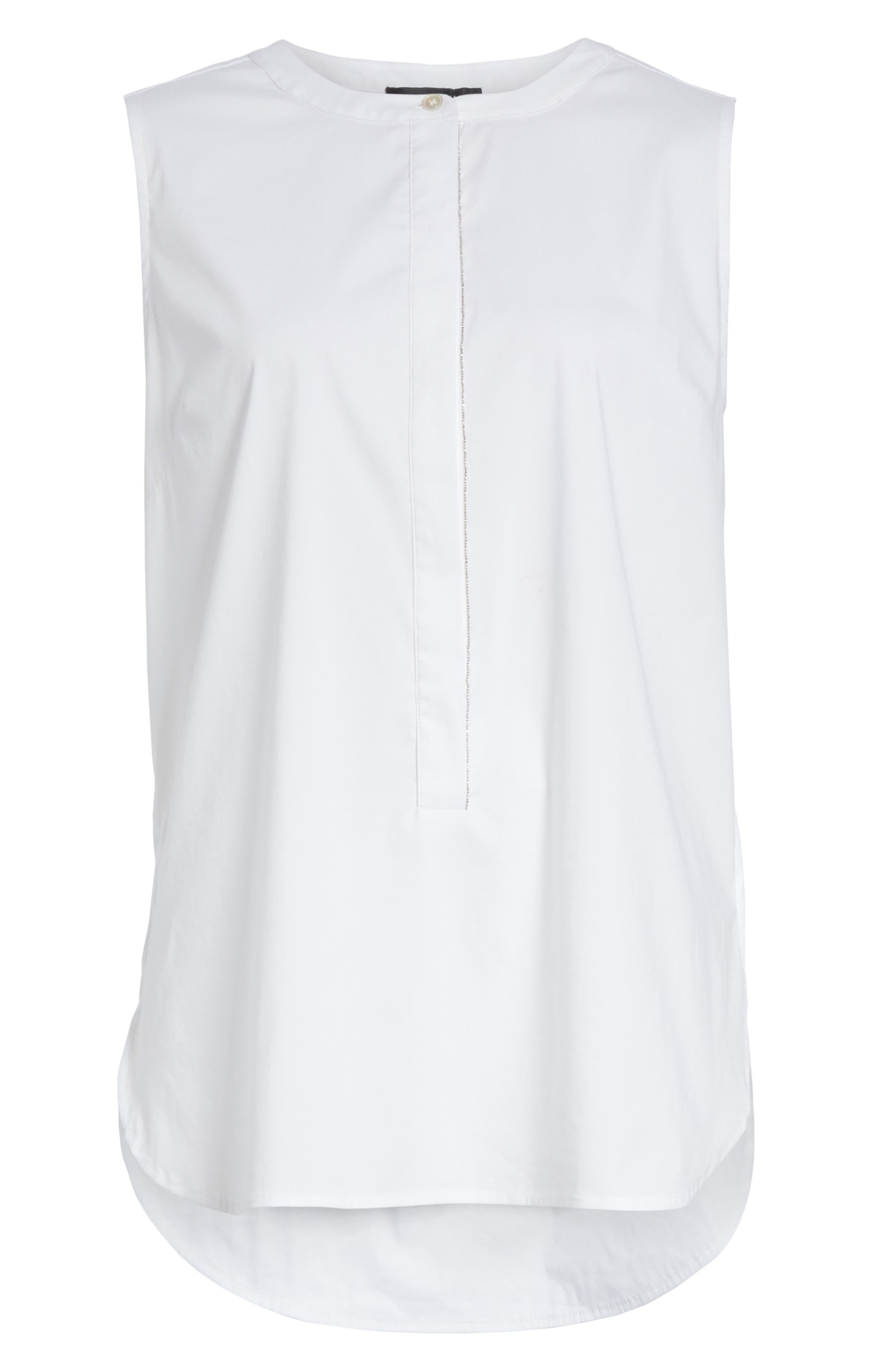 Stretch Shirting Sleeveless Top,                             Alternate thumbnail 7, color,                             Bianco