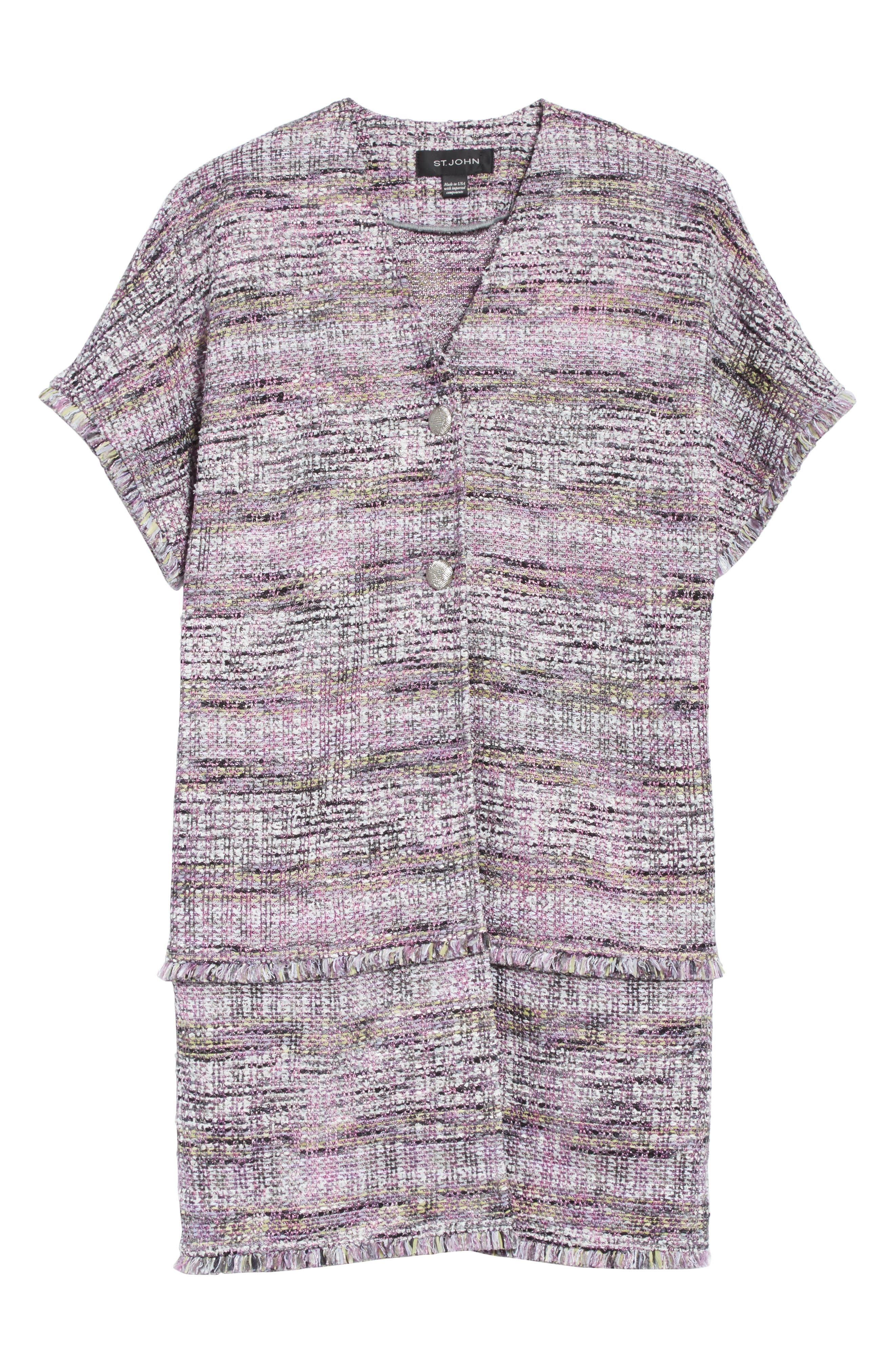 Anna Stripe Tweed Dolman Jacket,                             Alternate thumbnail 7, color,                             Orchid Multi