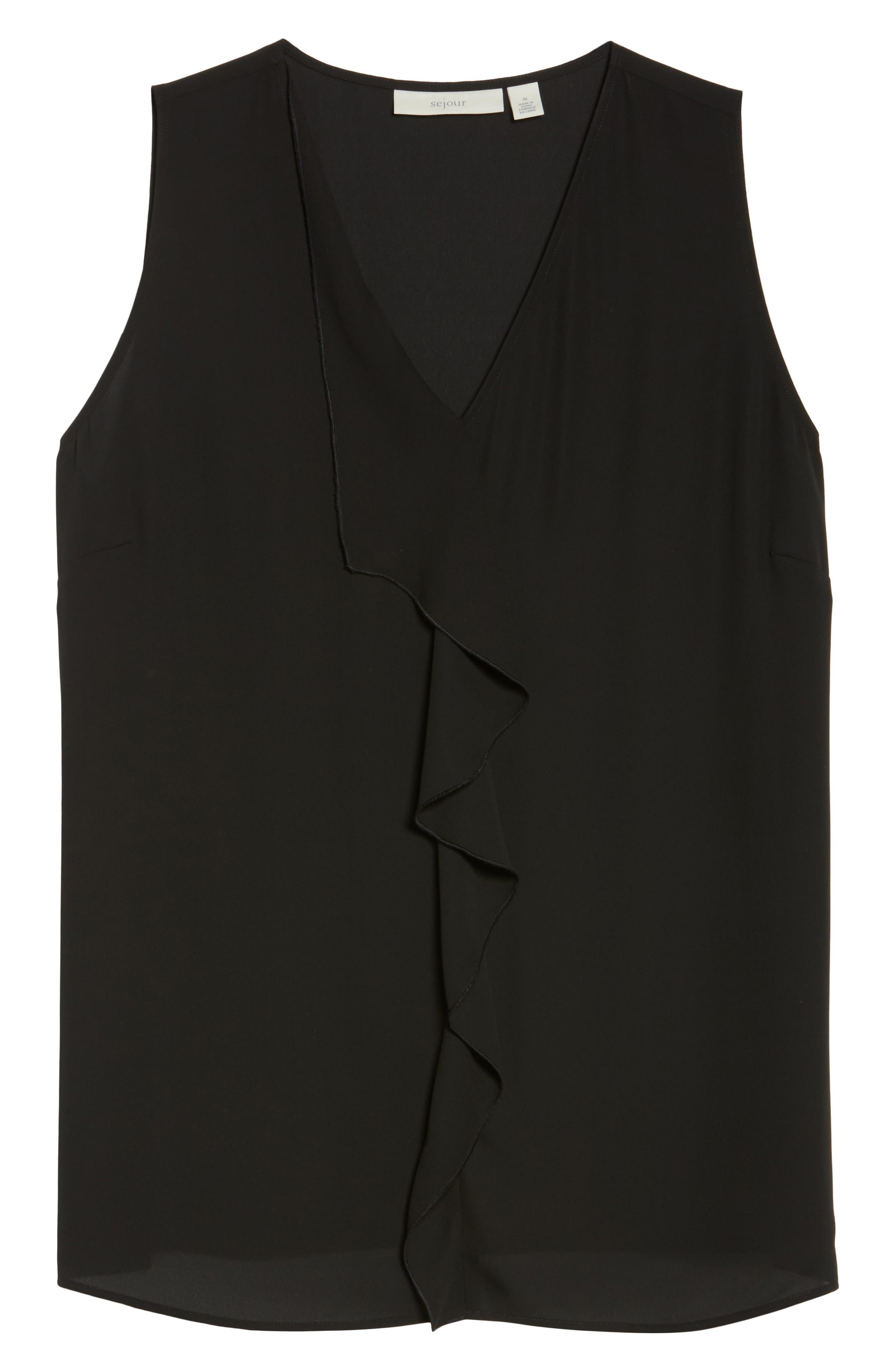 Drape Front V-Neck Tank,                             Alternate thumbnail 6, color,                             Black
