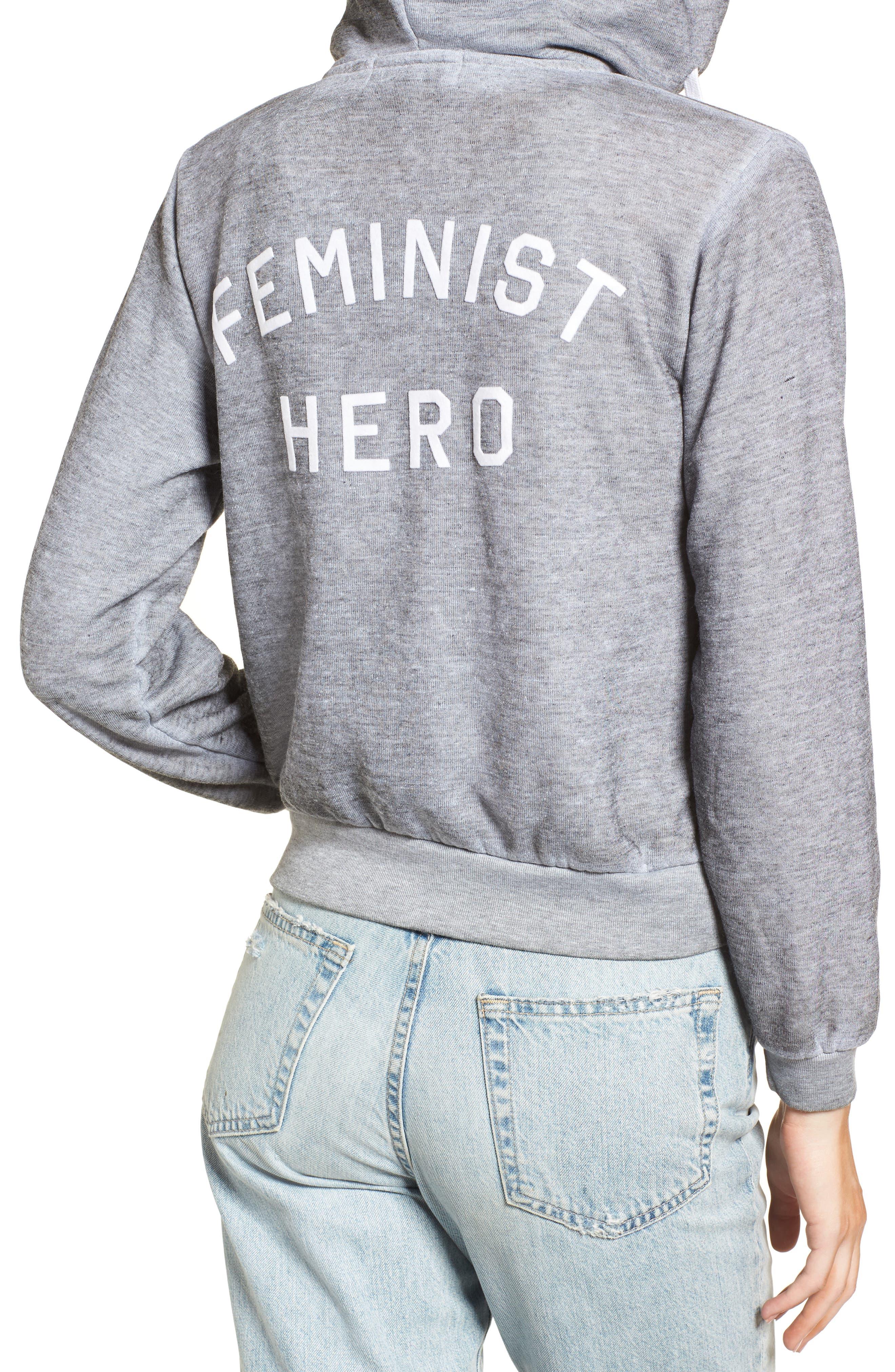 Regan Feminist Hero Zip Hoodie,                             Alternate thumbnail 2, color,                             Heather