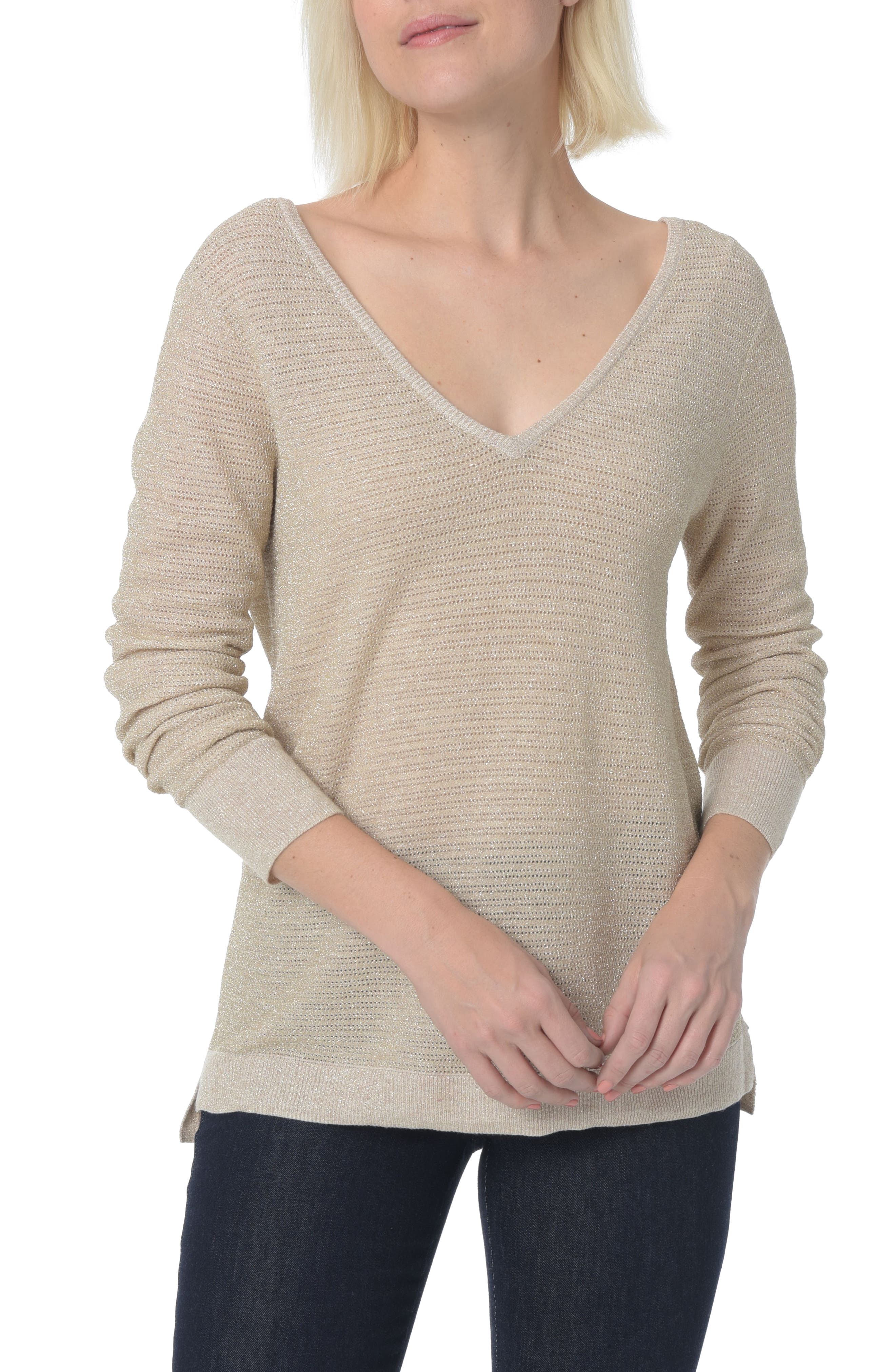 Double V-Neck Sweater,                             Main thumbnail 1, color,                             Heather Vanilla