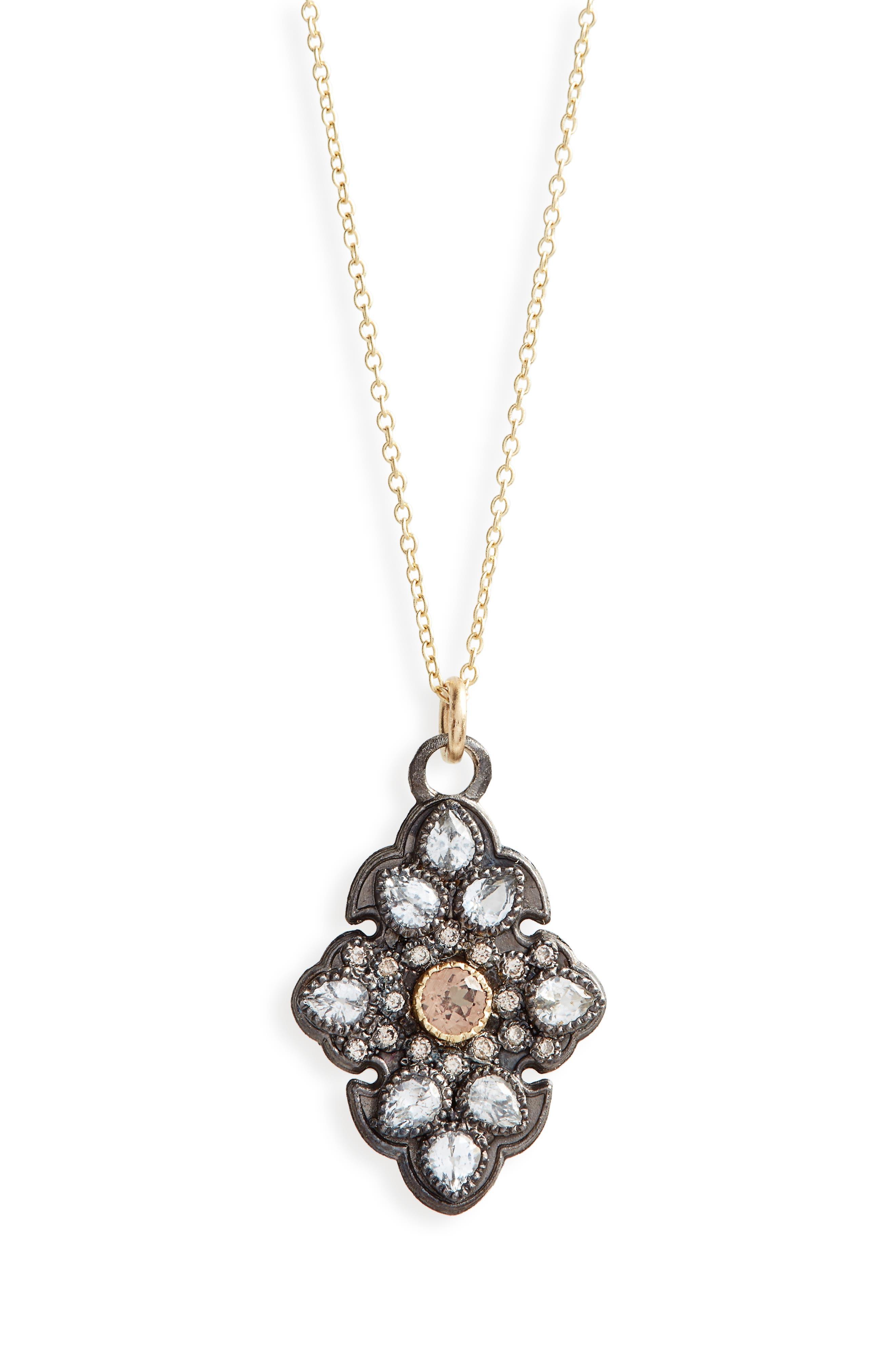 Old World Diamond Pavé Pendant Necklace,                         Main,                         color, Gold