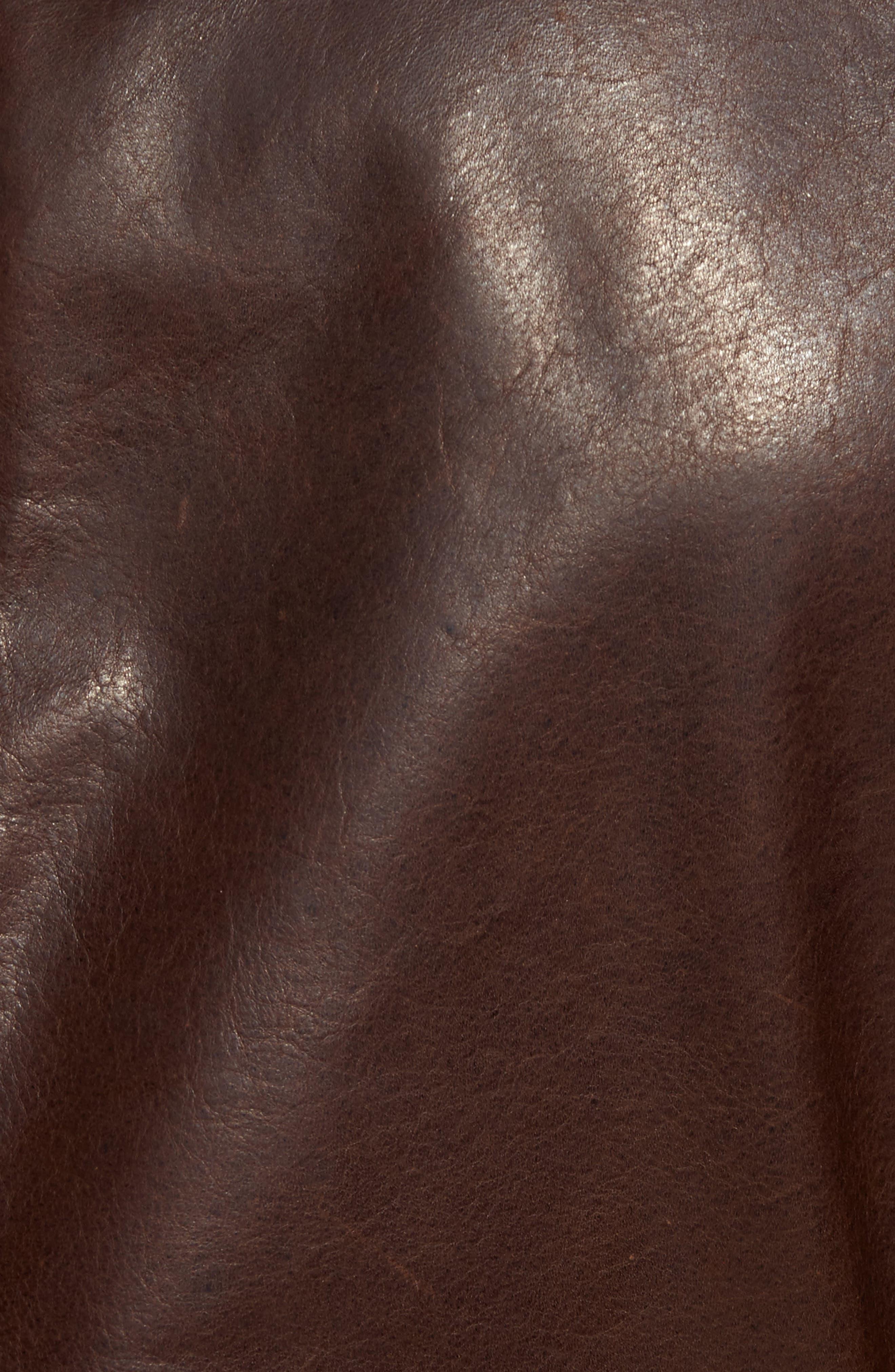 Café Racer Unlined Cowhide Leather Jacket,                             Alternate thumbnail 5, color,                             Brown