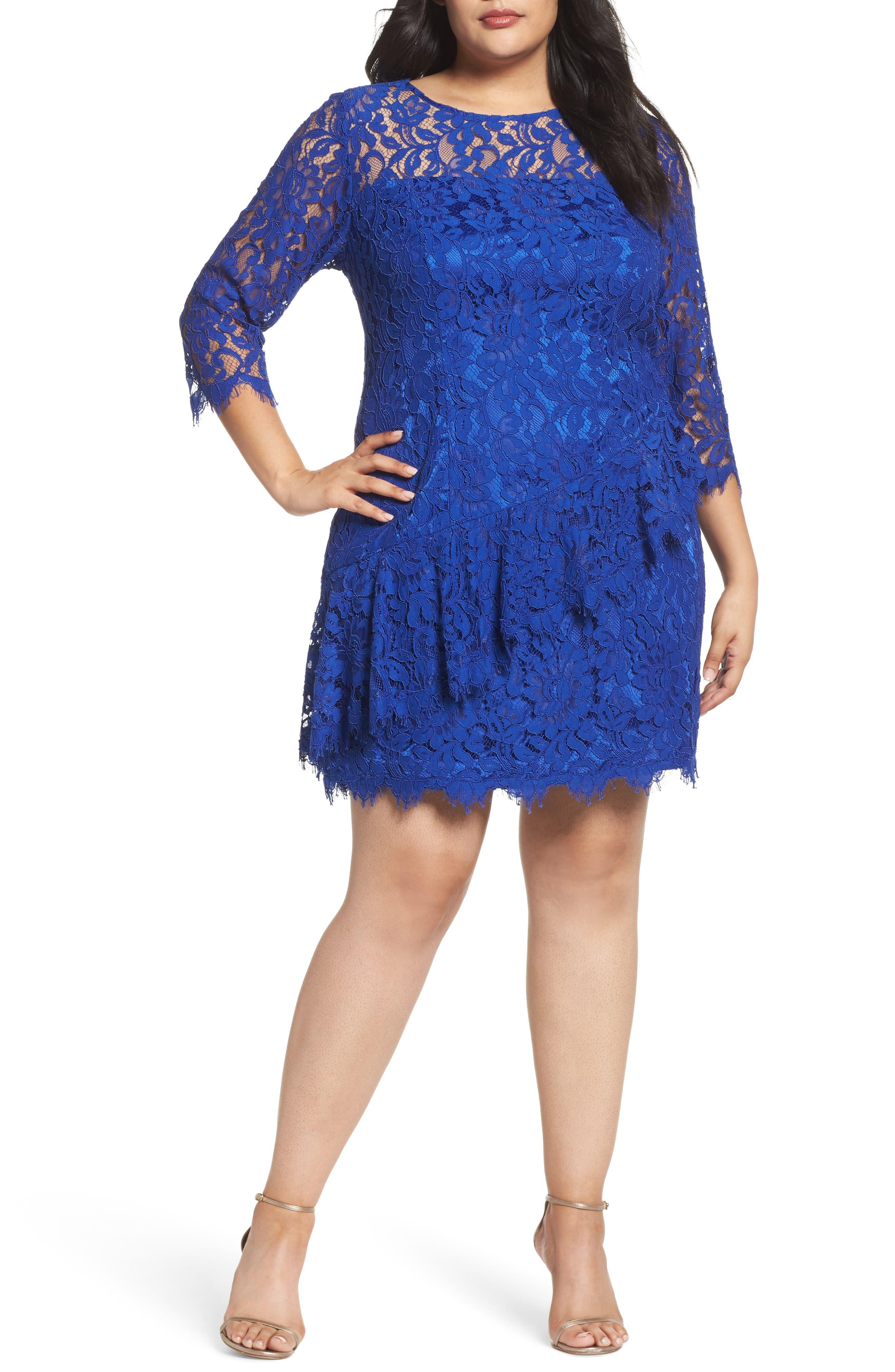 Lace Fit & Flare Dress,                         Main,                         color, Cobalt