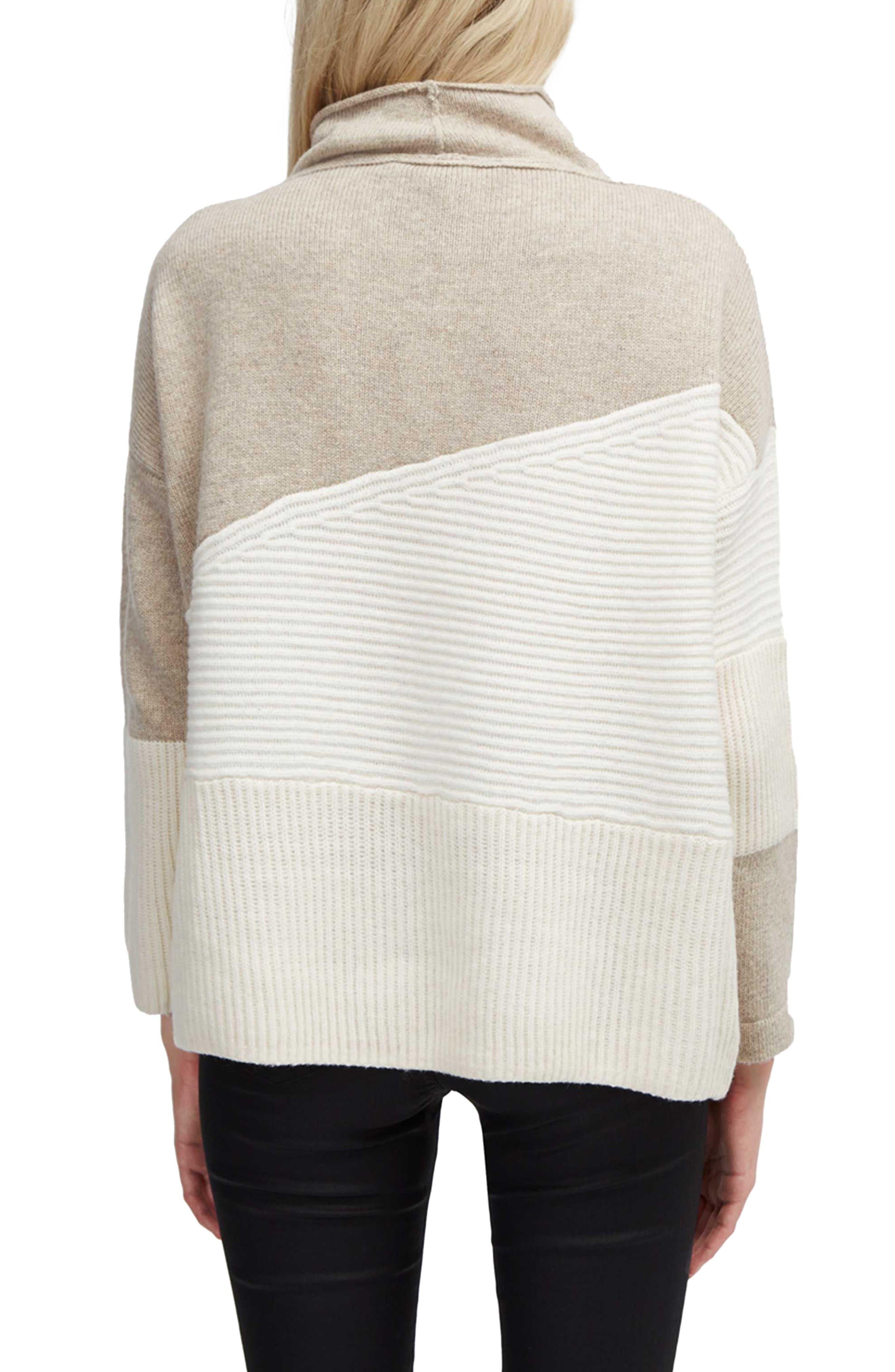 Patchwork Mock Neck Sweater,                             Alternate thumbnail 2, color,                             Classic Cream