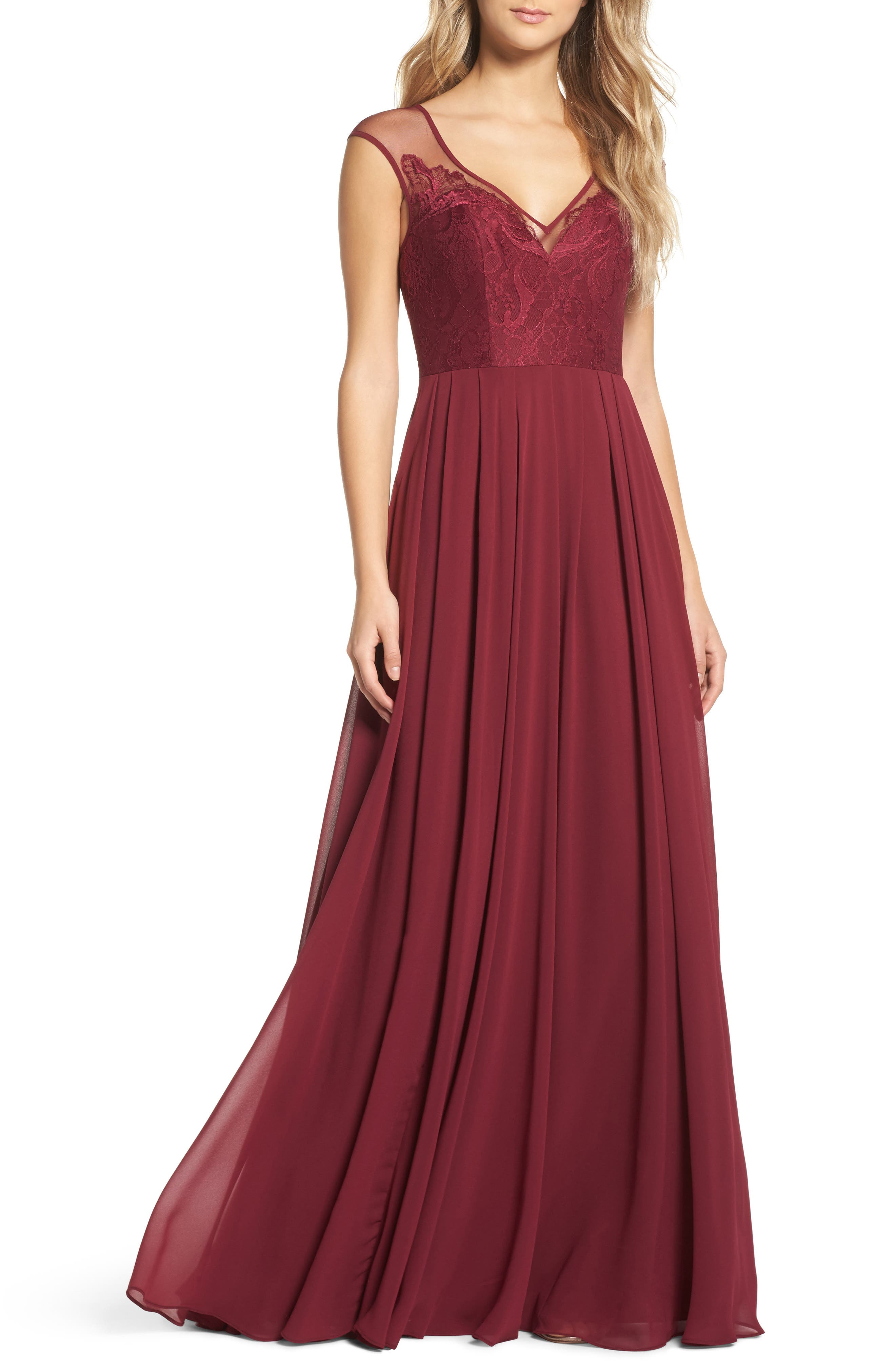Hayley Paige Occasions Mixed Media A-Line Gown
