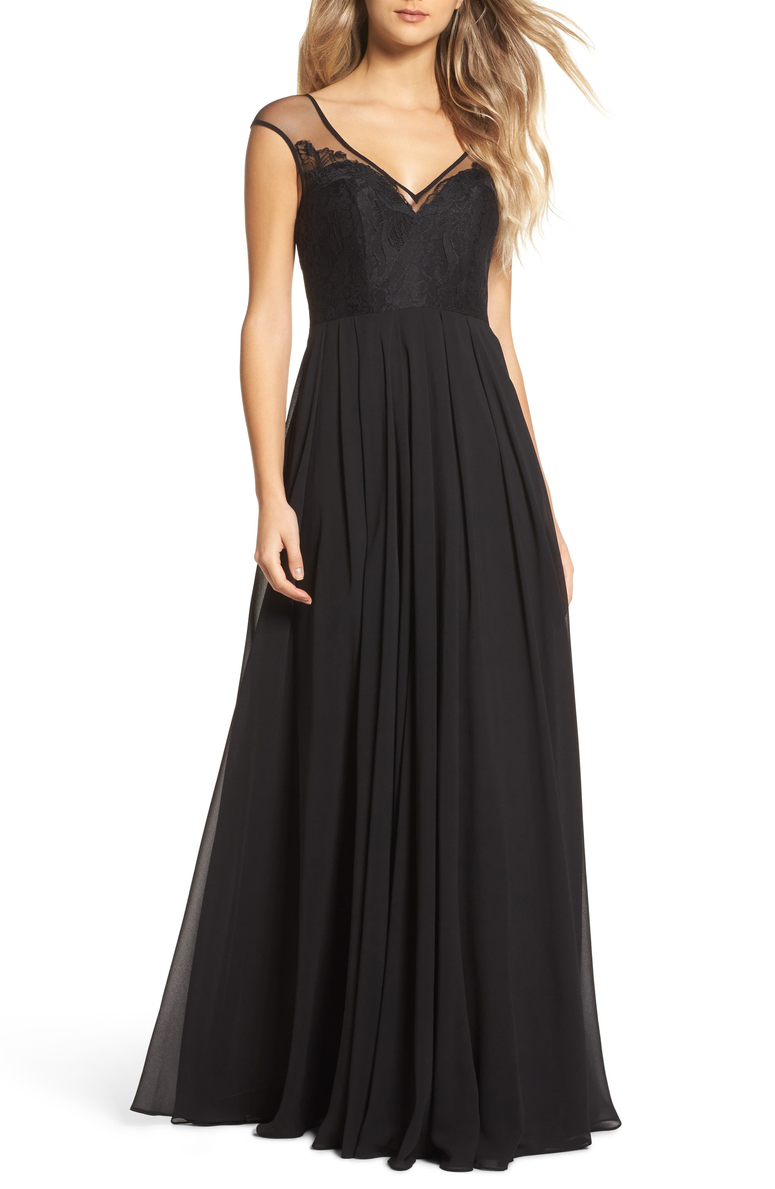 Mixed Media A-Line Gown,                         Main,                         color, Black