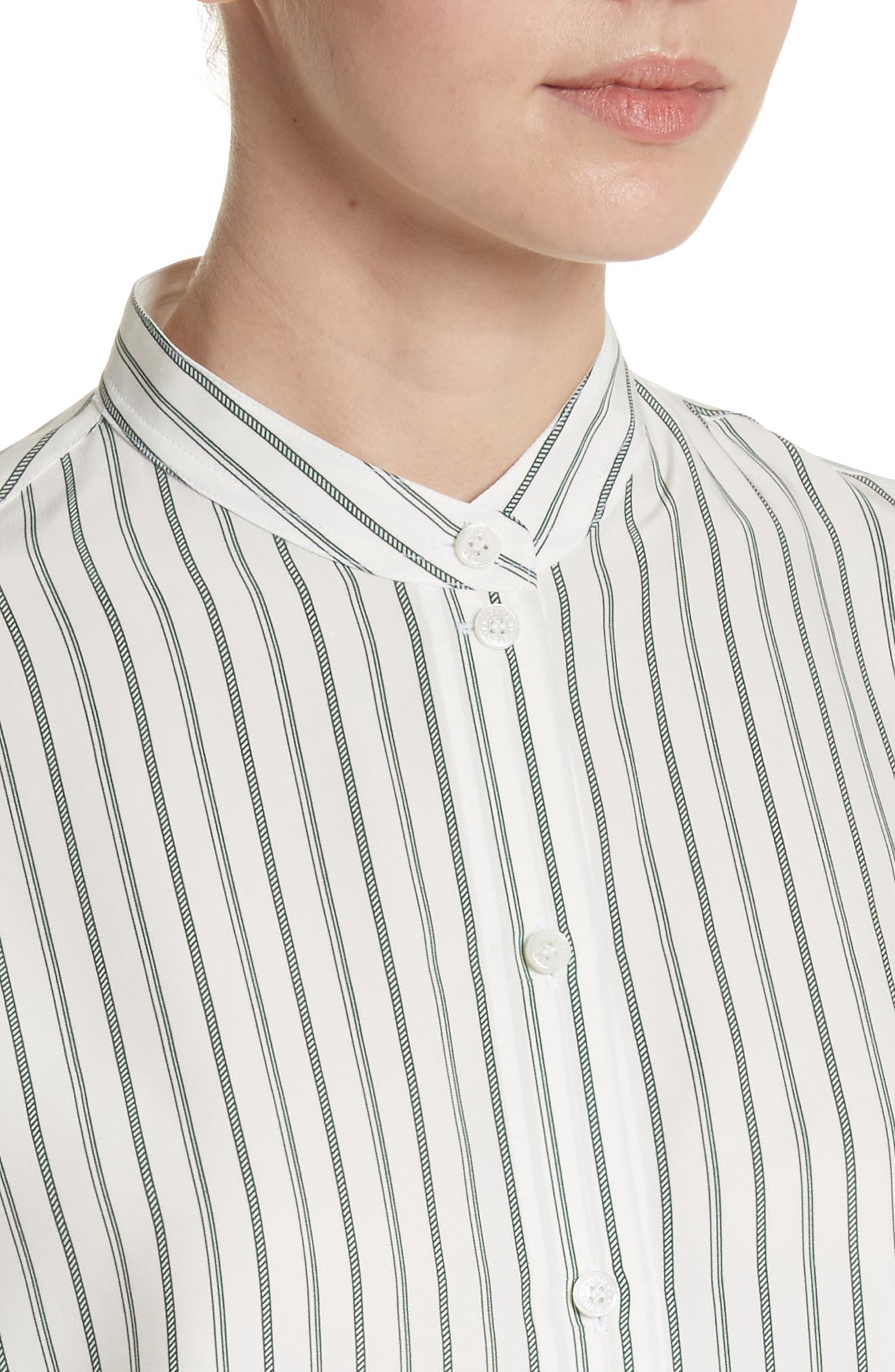 Alternate Image 4  - Victoria Beckham Stripe Silk Granddad Shirt