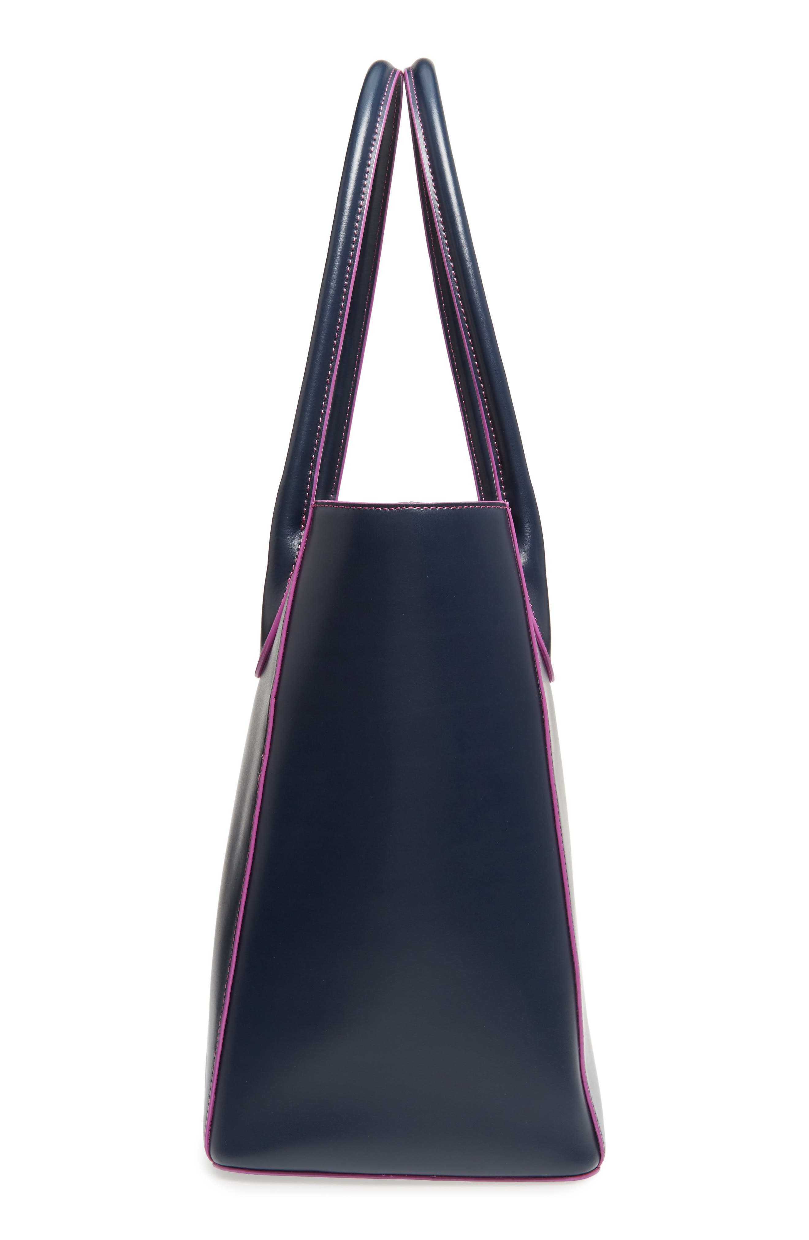 Cecily RFID Leather Tote,                             Alternate thumbnail 5, color,                             Navy/ Orchid