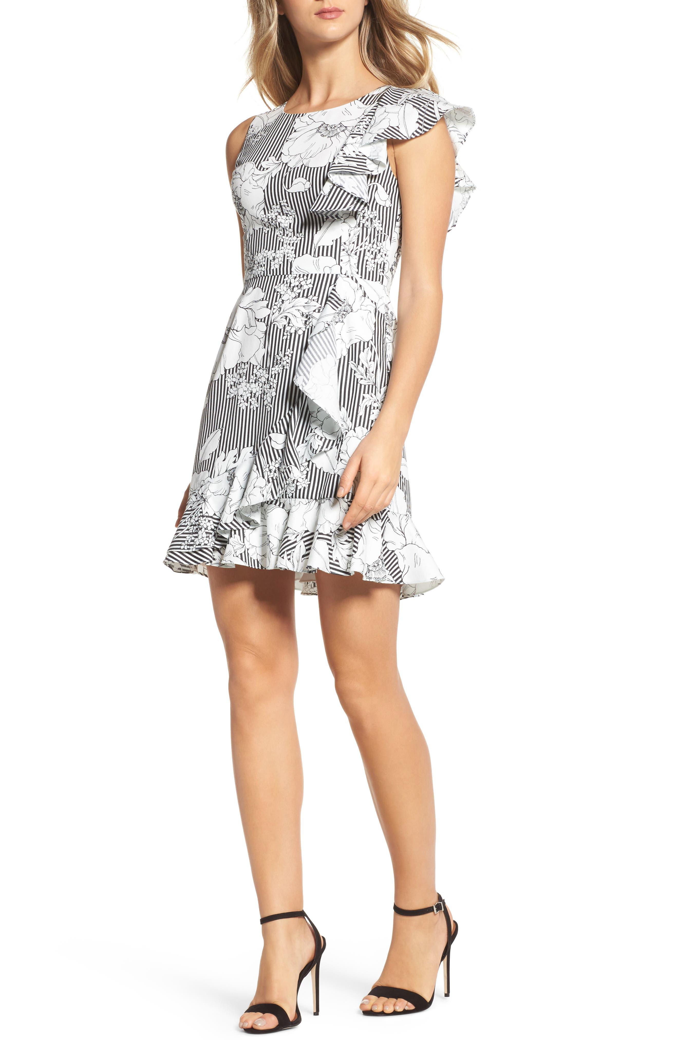 Floral Asymmetrical Ruffle Dress,                             Main thumbnail 1, color,                             Black White Floral
