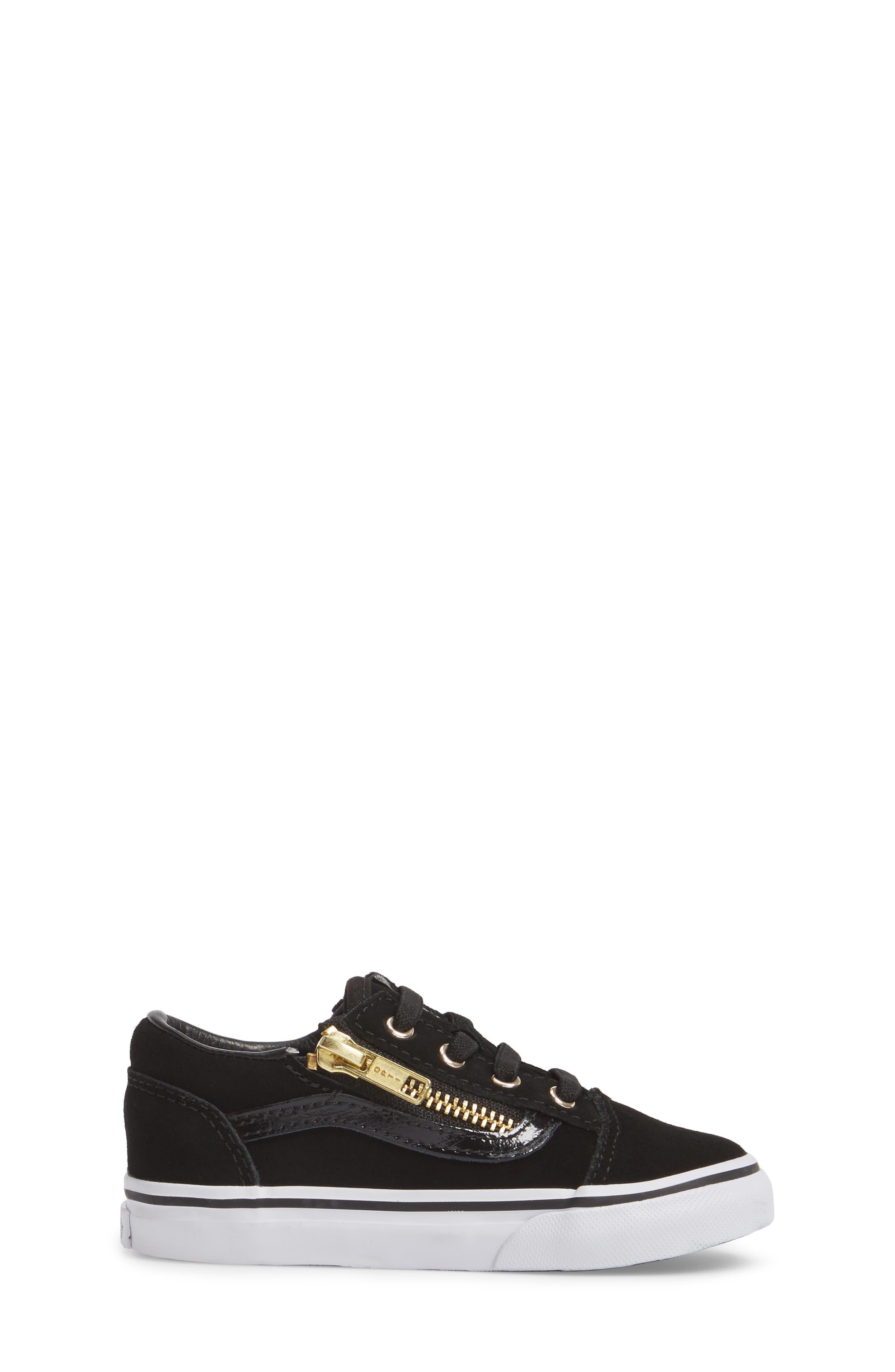 Old Skool Zip Sneaker,                             Alternate thumbnail 3, color,                             Black/ Gold