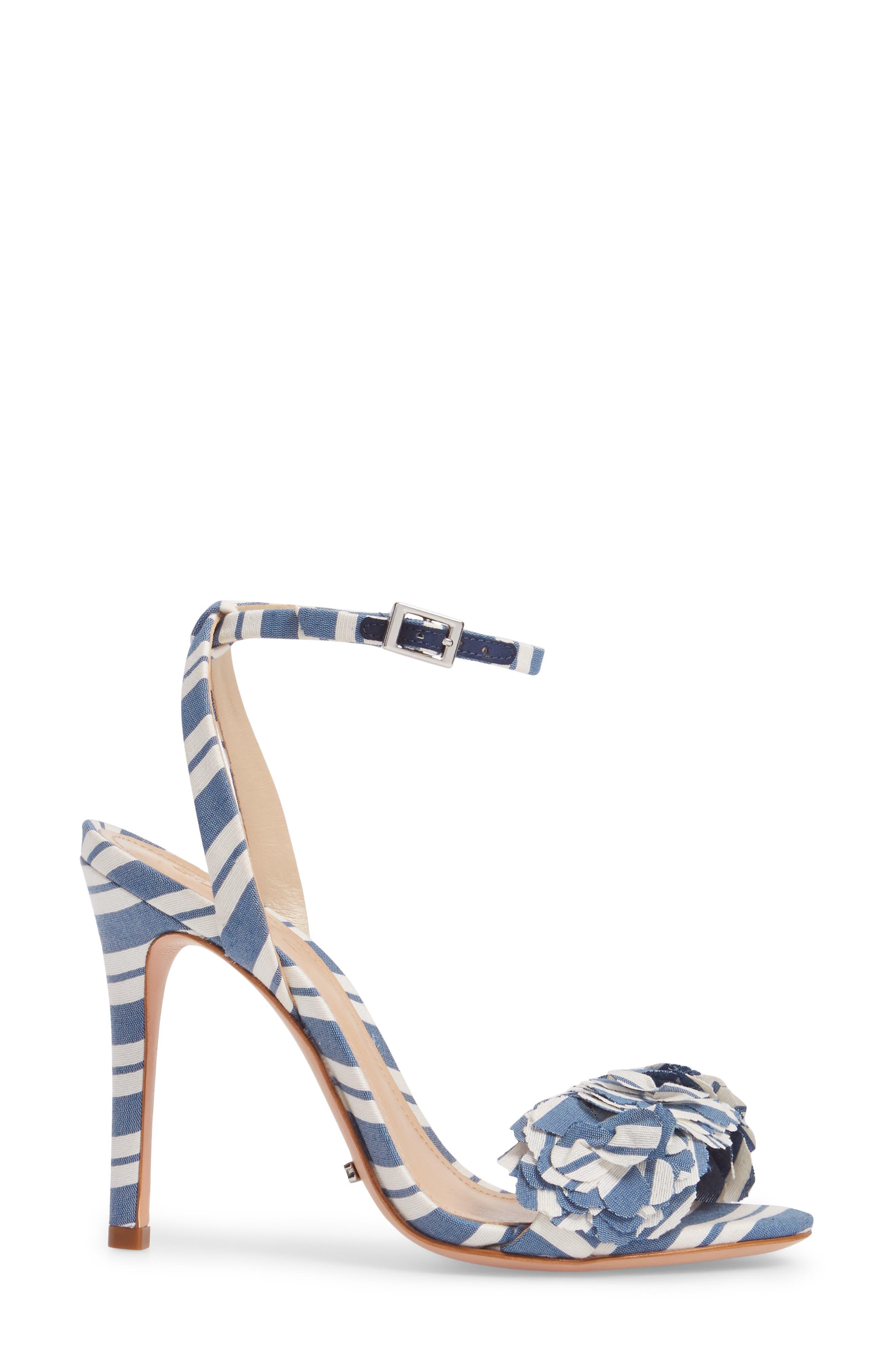 Aida Flower Appliqué Sandal,                             Alternate thumbnail 3, color,                             Dress Blue