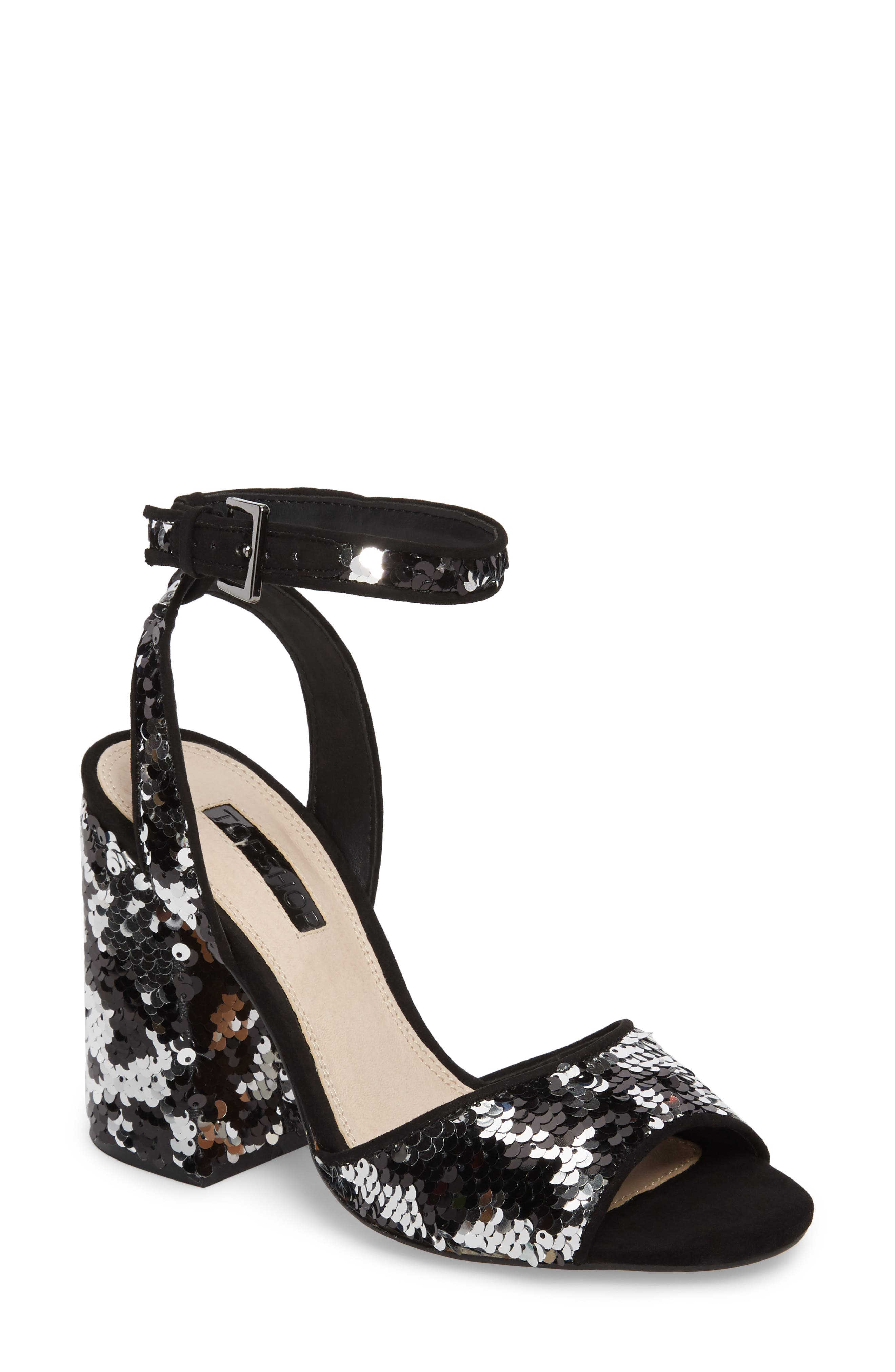 Reaction Sequin Block Heel Sandal,                             Main thumbnail 1, color,                             Black Multi