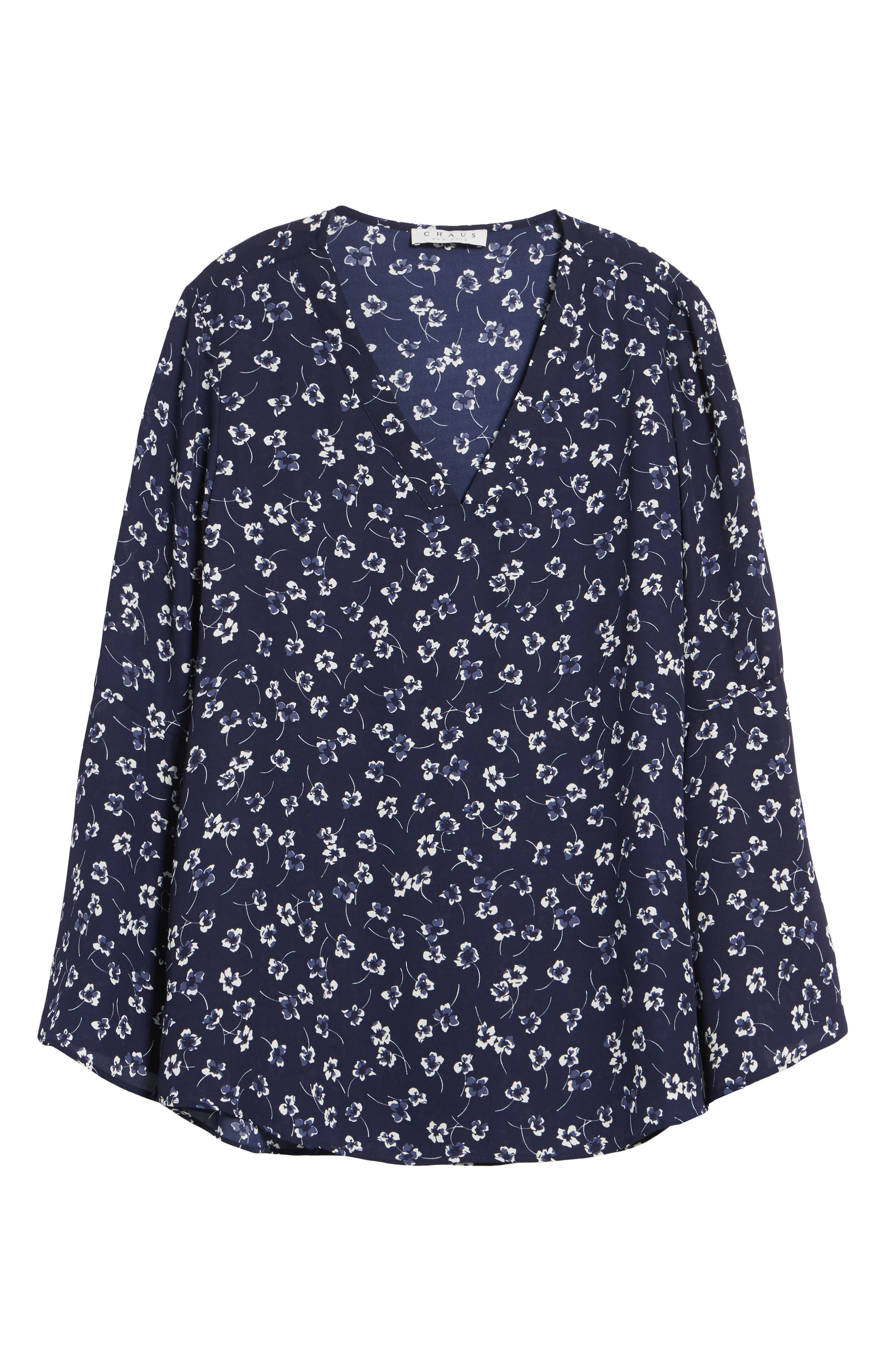 Alternate Image 6  - Chaus Ditsy Floral Print Bell Sleeve Blouse