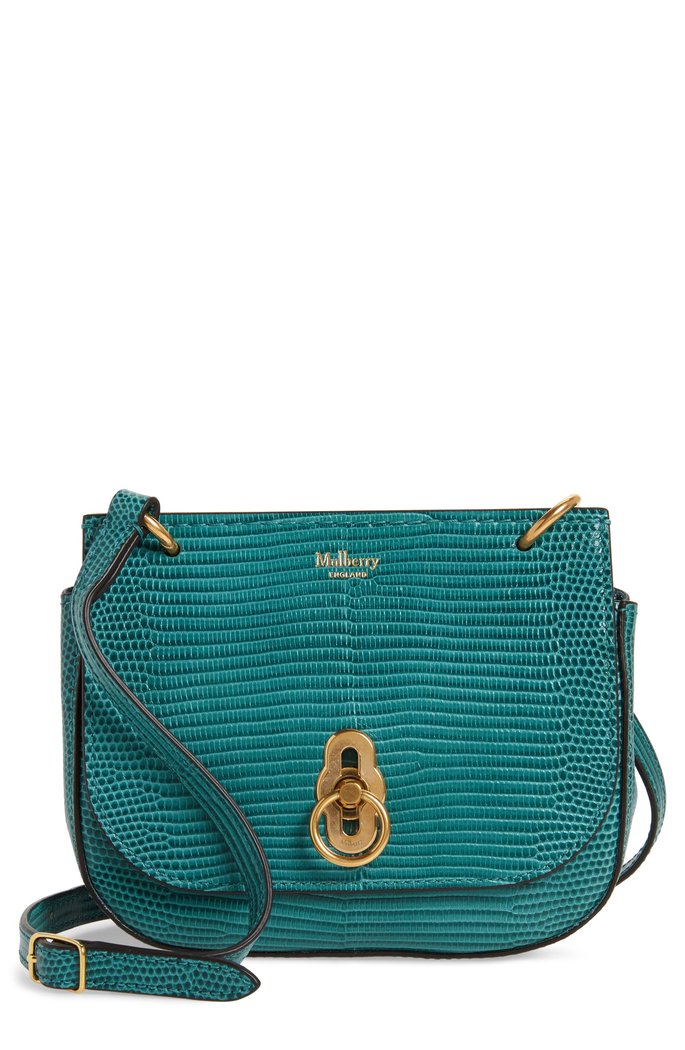 Mulberry Mini Amberley Reptile Embossed Leather Crossbody Bag