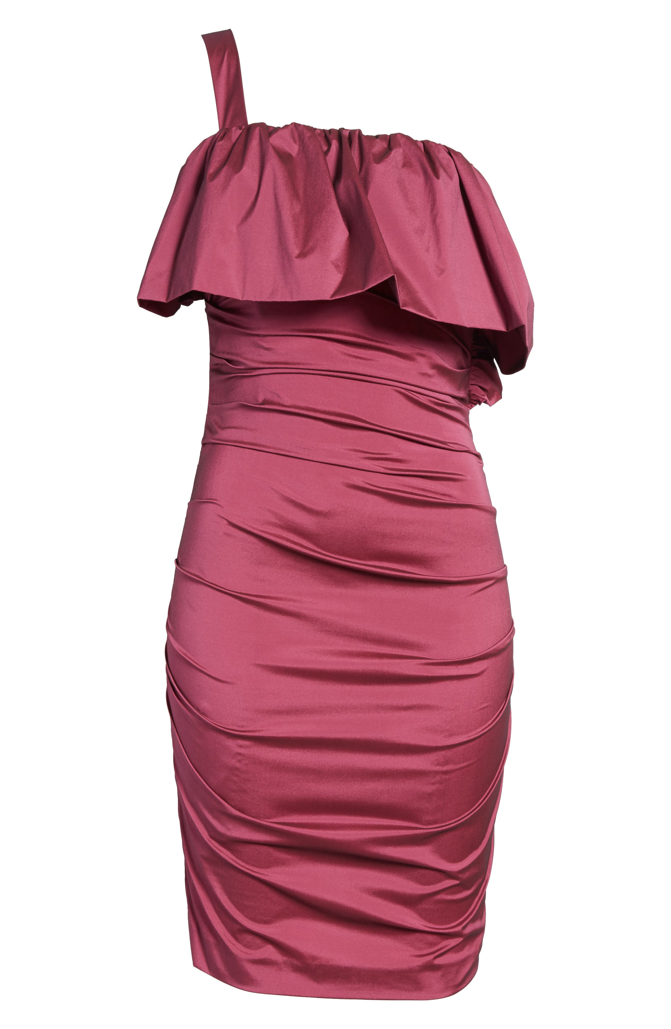 Frilled Column Dress,                             Alternate thumbnail 6, color,                             Vixen