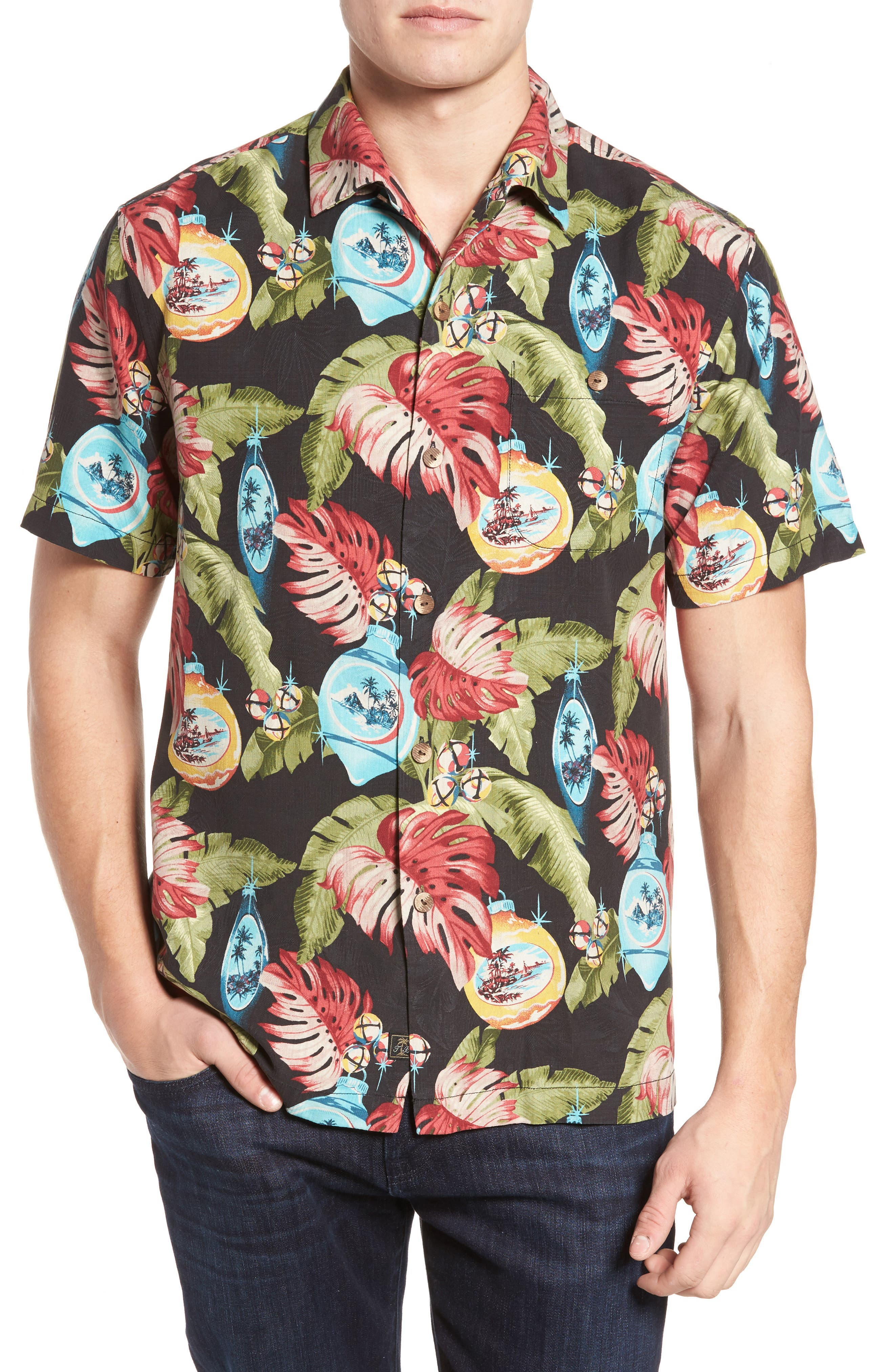 Tommy Bahama With Bells On Print Silk Sport Shirt