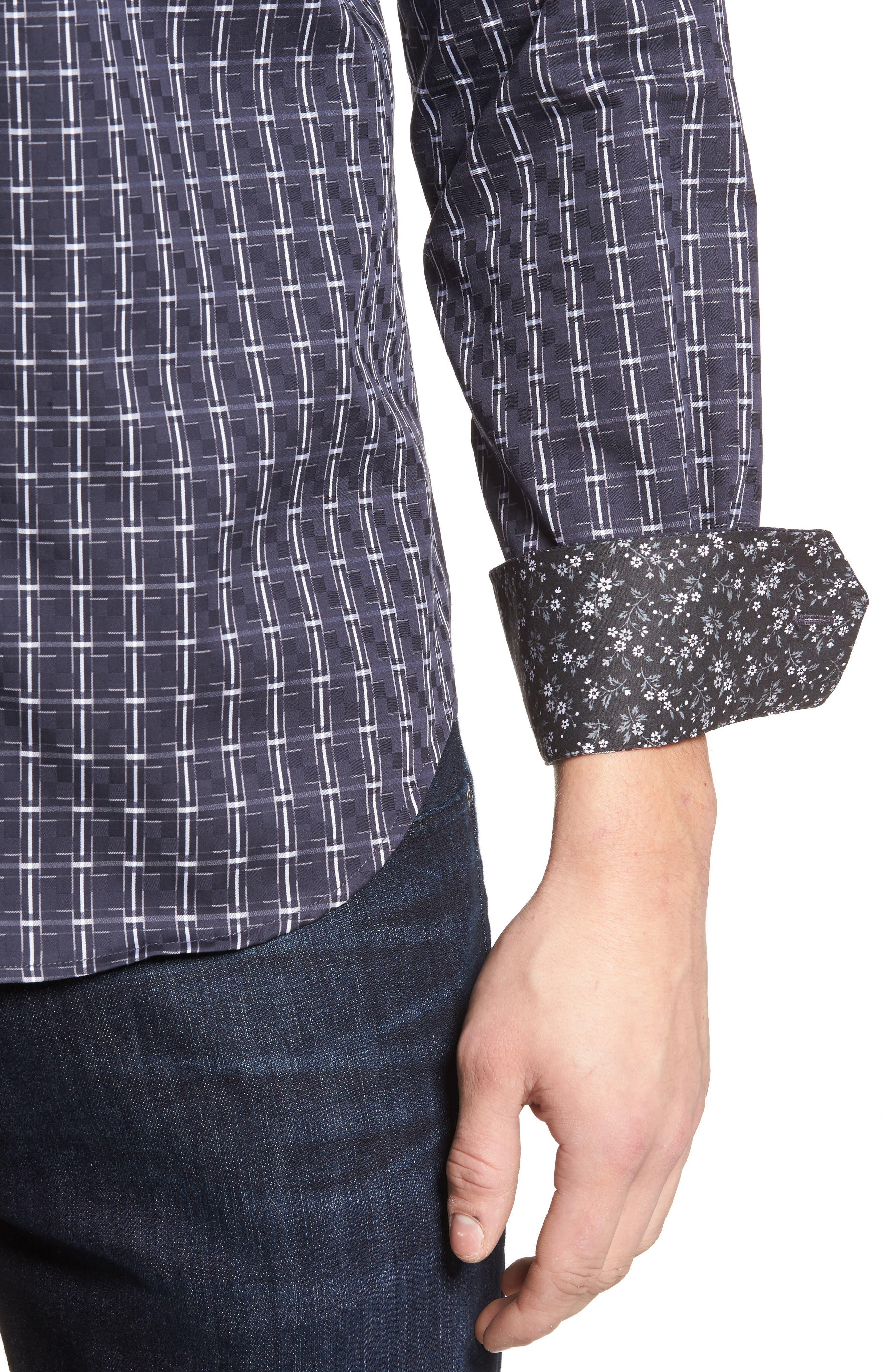 Shaped Fit Plaid Sport Shirt,                             Alternate thumbnail 4, color,                             Black