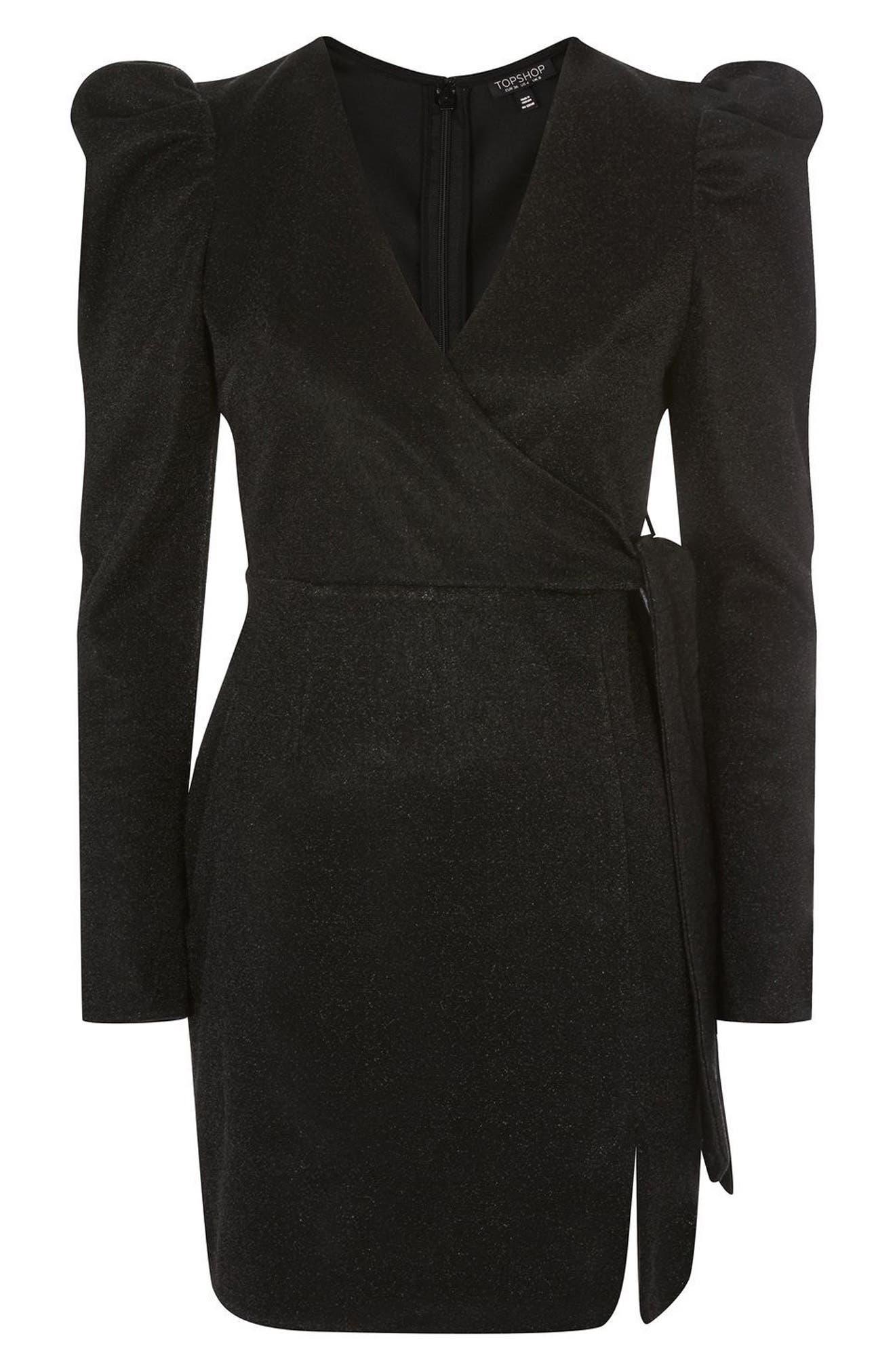 Tinsel Puff Shoulder Wrap Dress,                             Alternate thumbnail 4, color,                             Black