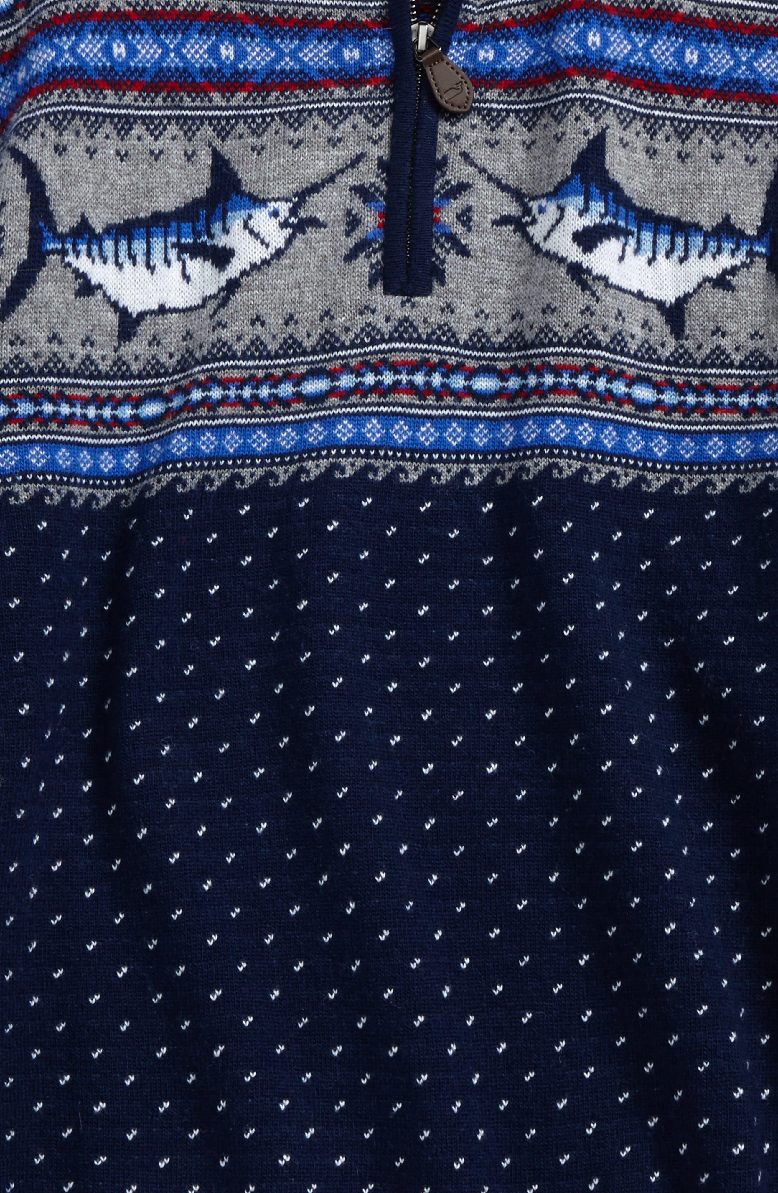 Marlin Whale Intarsia Quarter Zip Sweater,                             Alternate thumbnail 2, color,                             Deep Bay