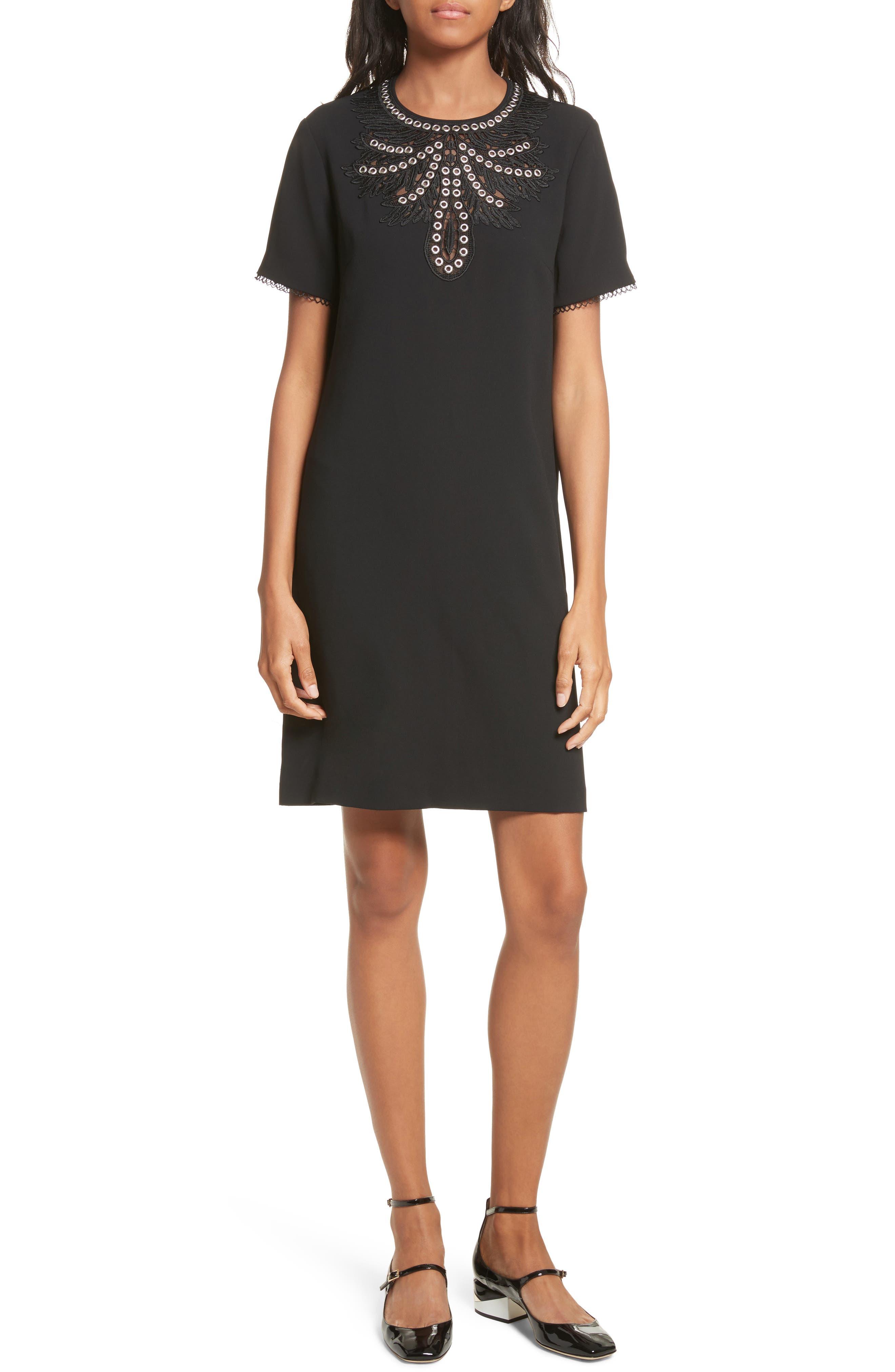Embellished Crepe Dress,                         Main,                         color, Black