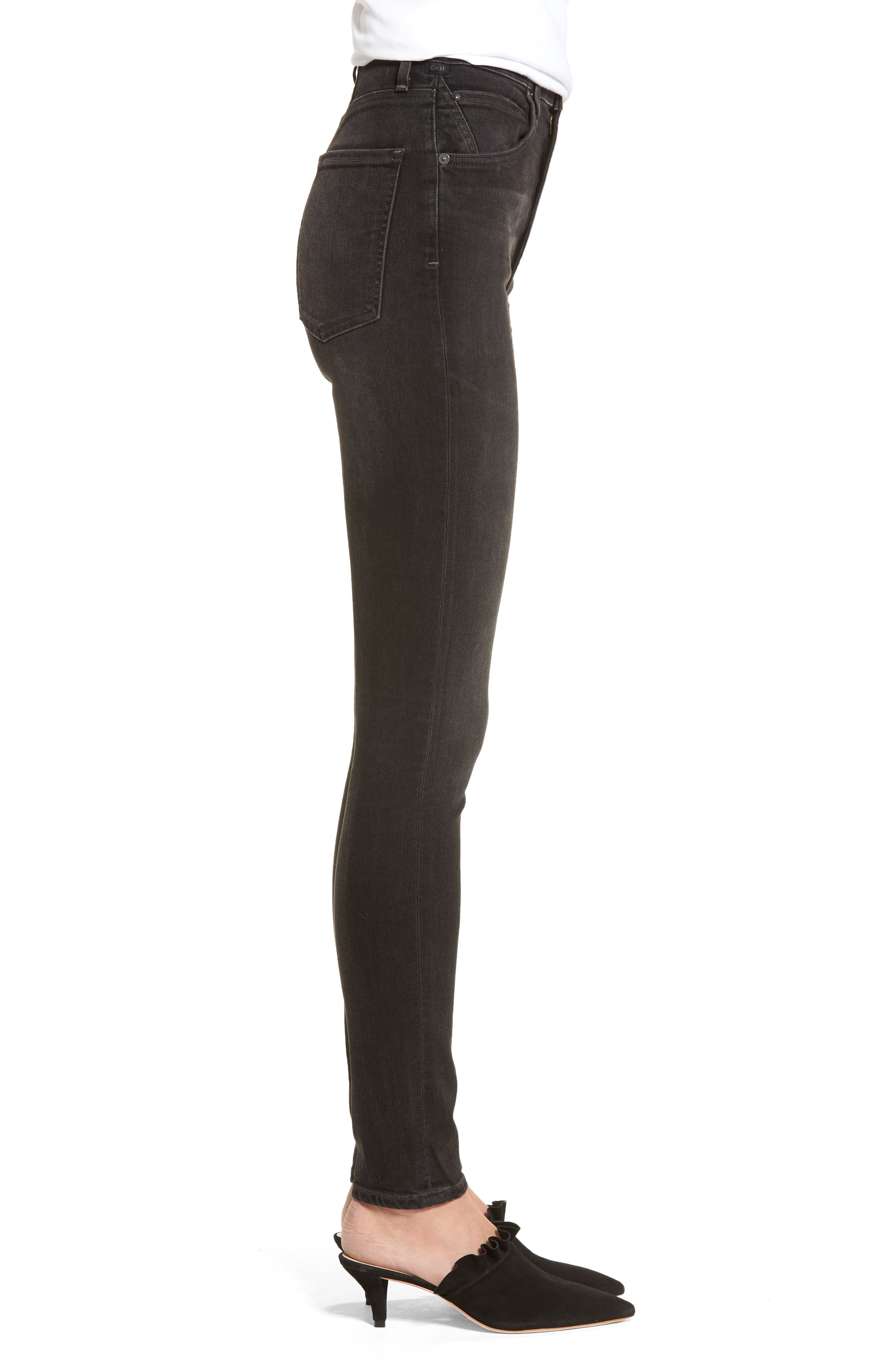 Chrissy High Waist Skinny Jeans,                             Alternate thumbnail 3, color,                             Darkness