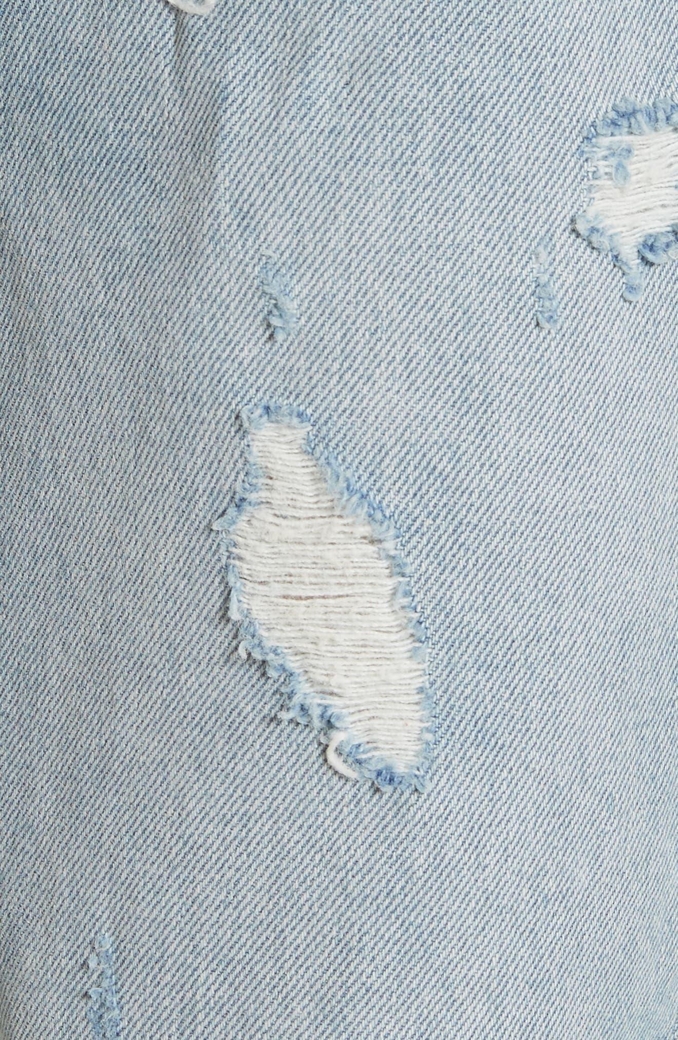 Alternate Image 5  - GRLFRND Helena Ripped Rigid High Waist Straight Jeans (Reese)