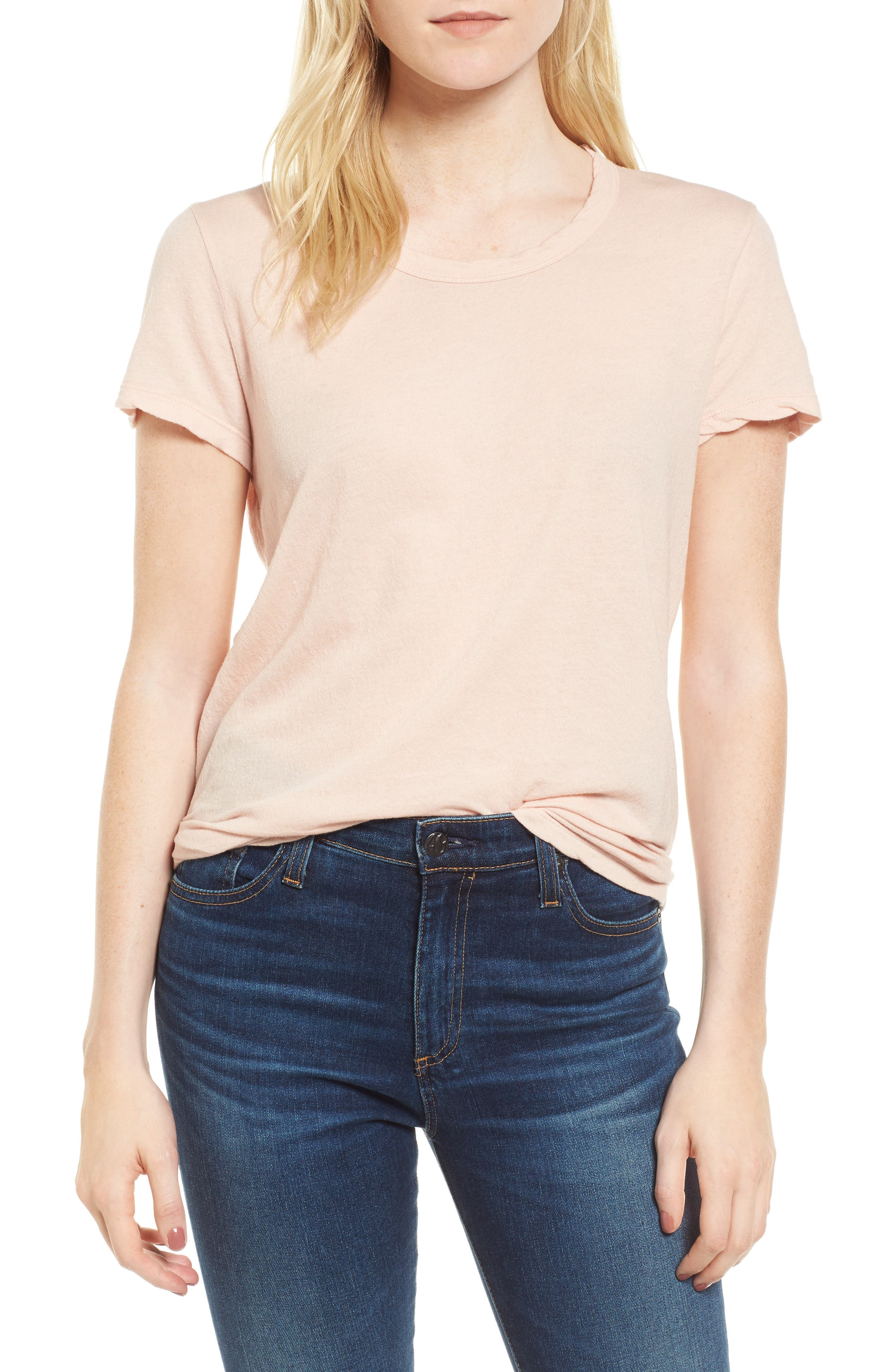 Crepe Jersey Tee,                         Main,                         color, Luster