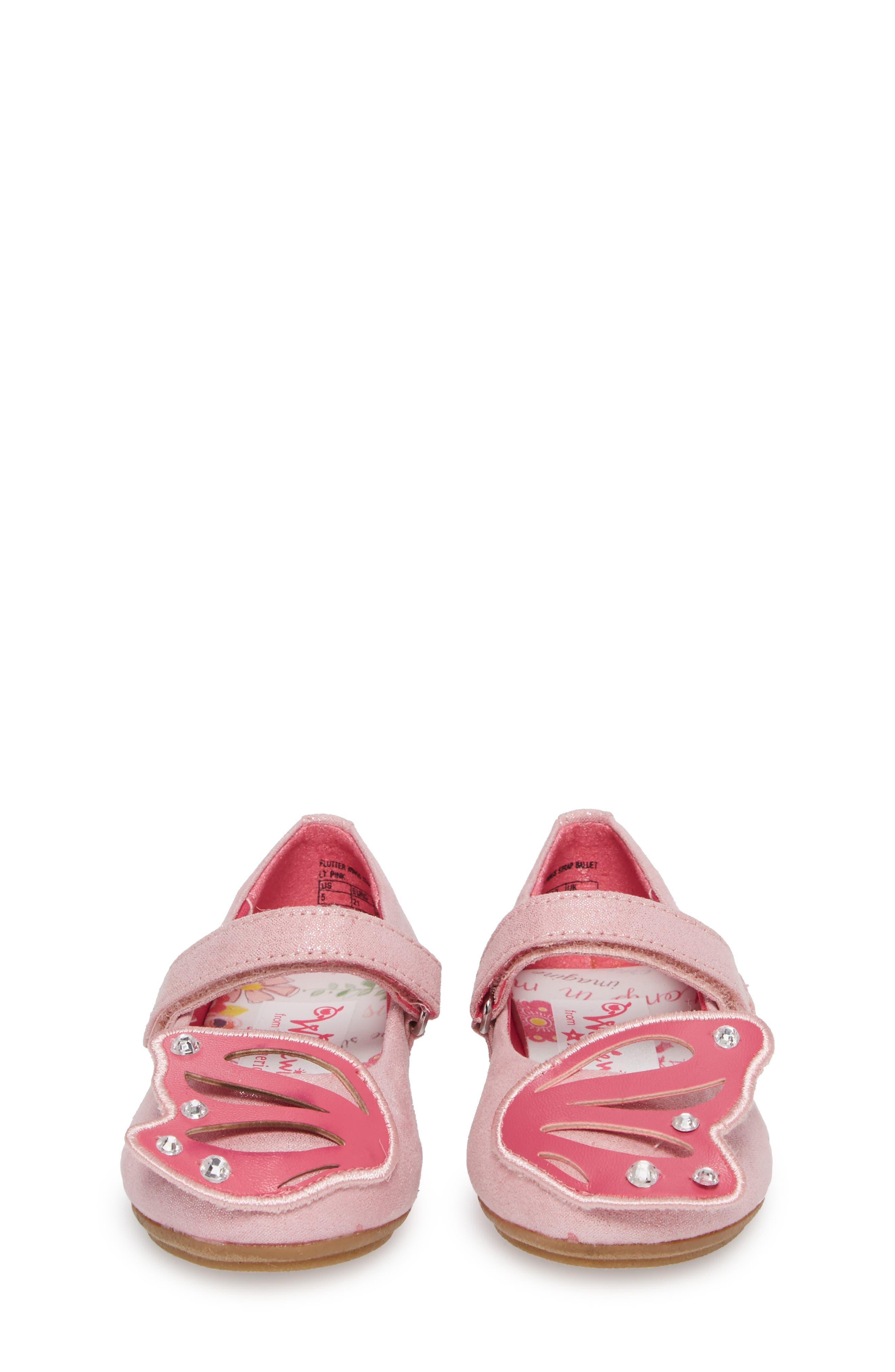 Flutter Wings Embellished Ballet Flat,                             Alternate thumbnail 4, color,                             Light Pink