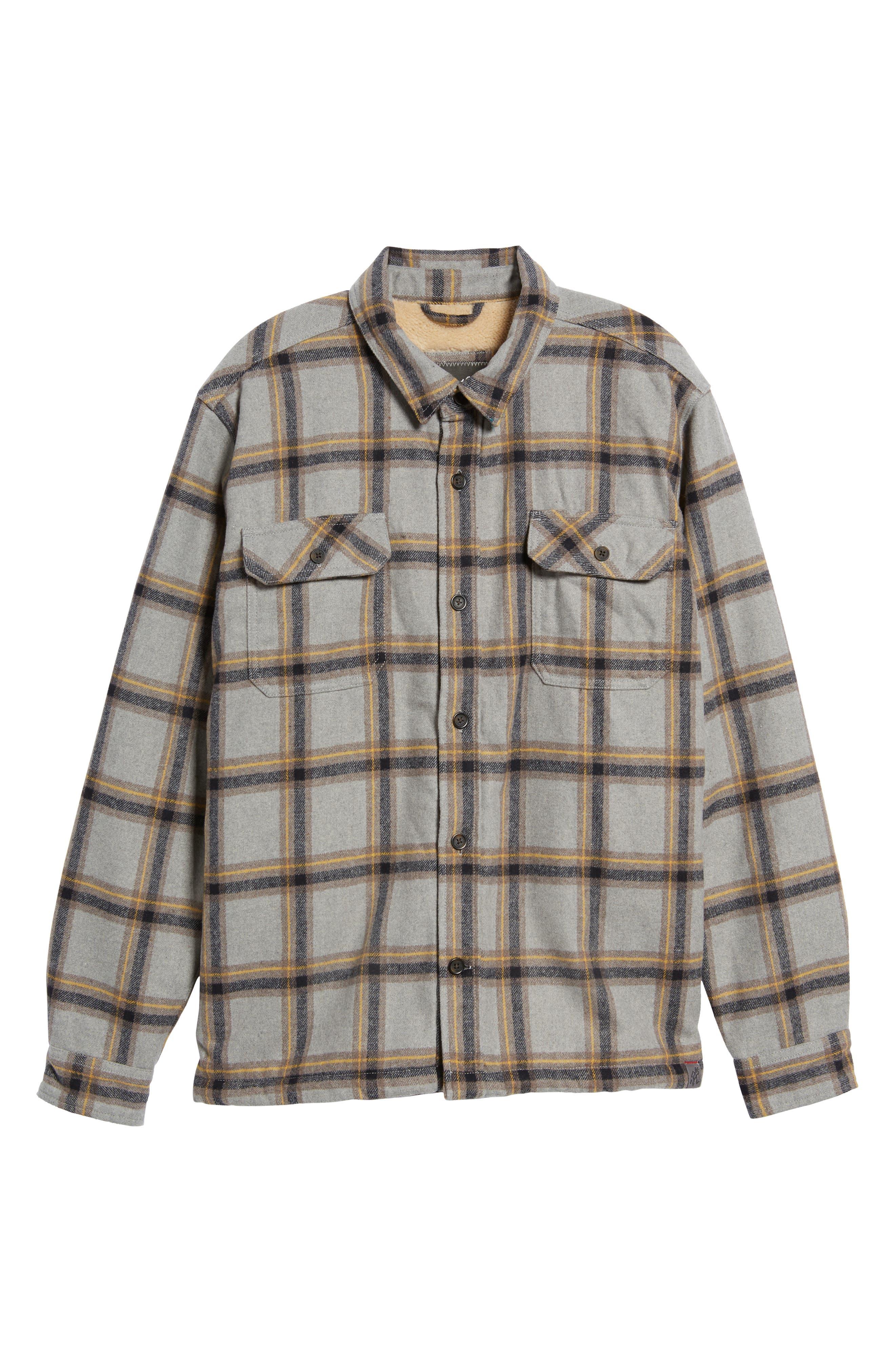 Tough Guy Plush Lined Flannel Shirt Jacket,                             Alternate thumbnail 6, color,                             Light Grey