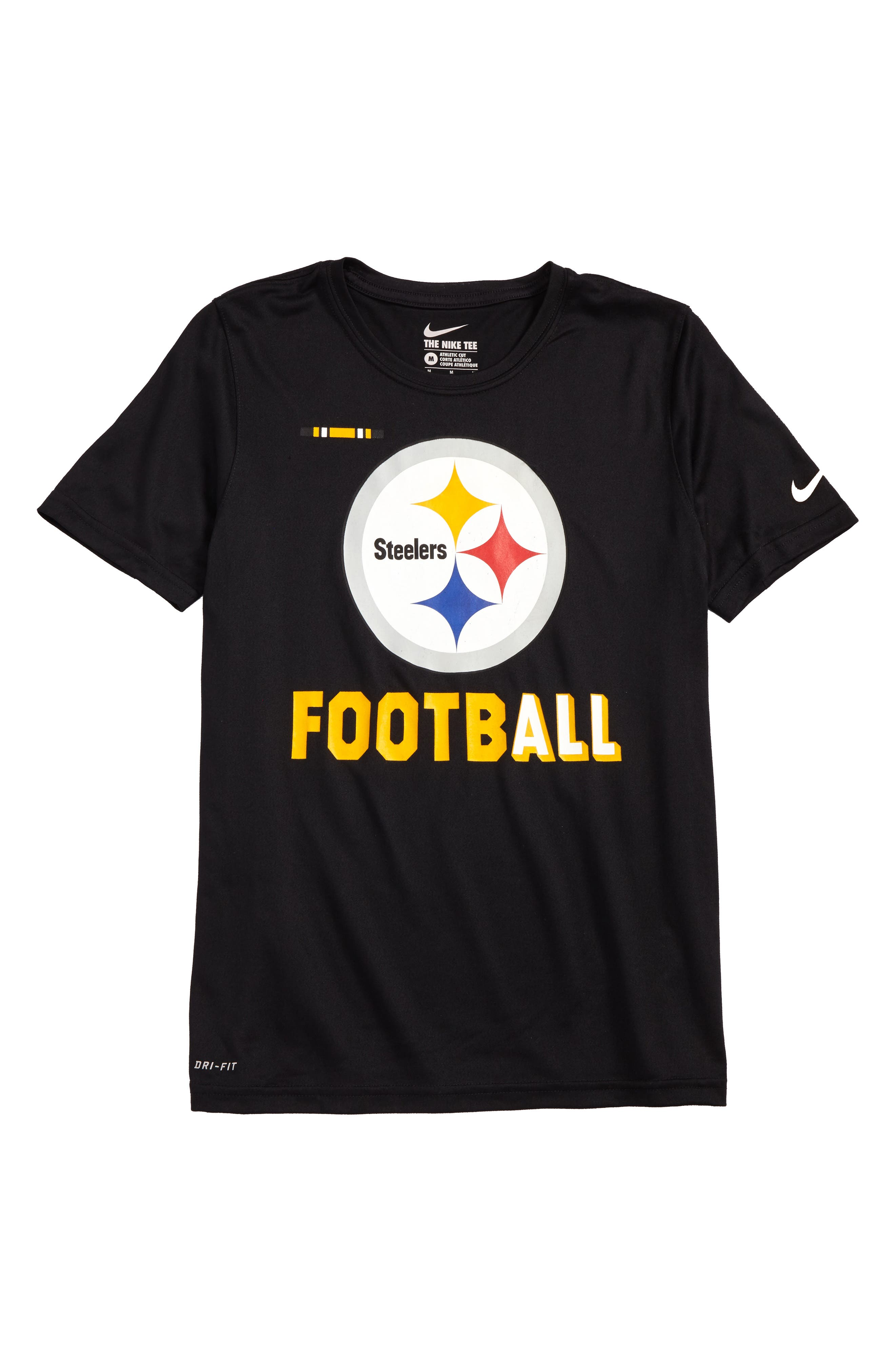 Nike NFL Logo - Pittsburgh Steelers Dry T-Shirt,                             Main thumbnail 1, color,                             Black