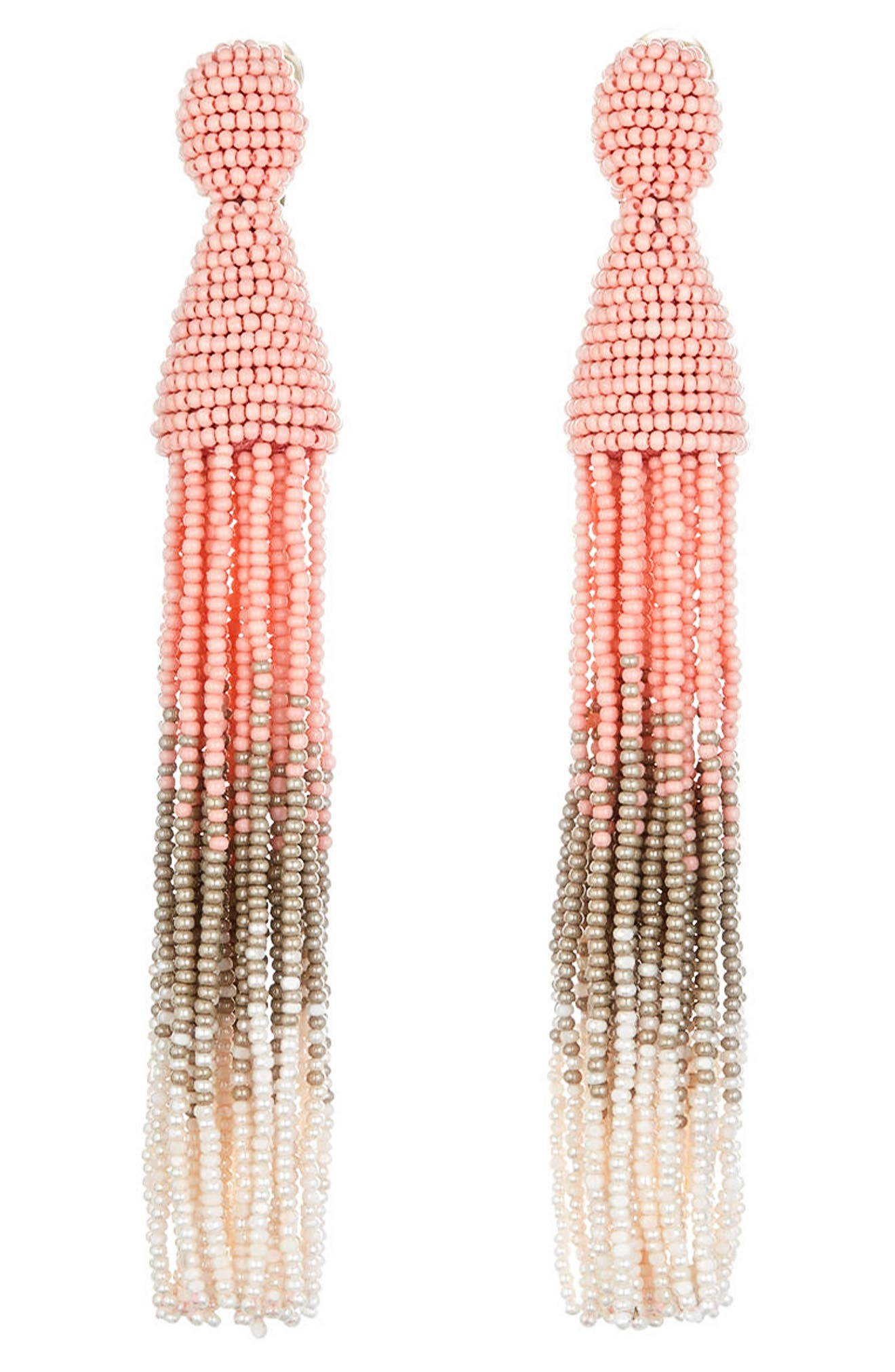 Ombré Long Tassel Clip Earrings,                         Main,                         color, Pink