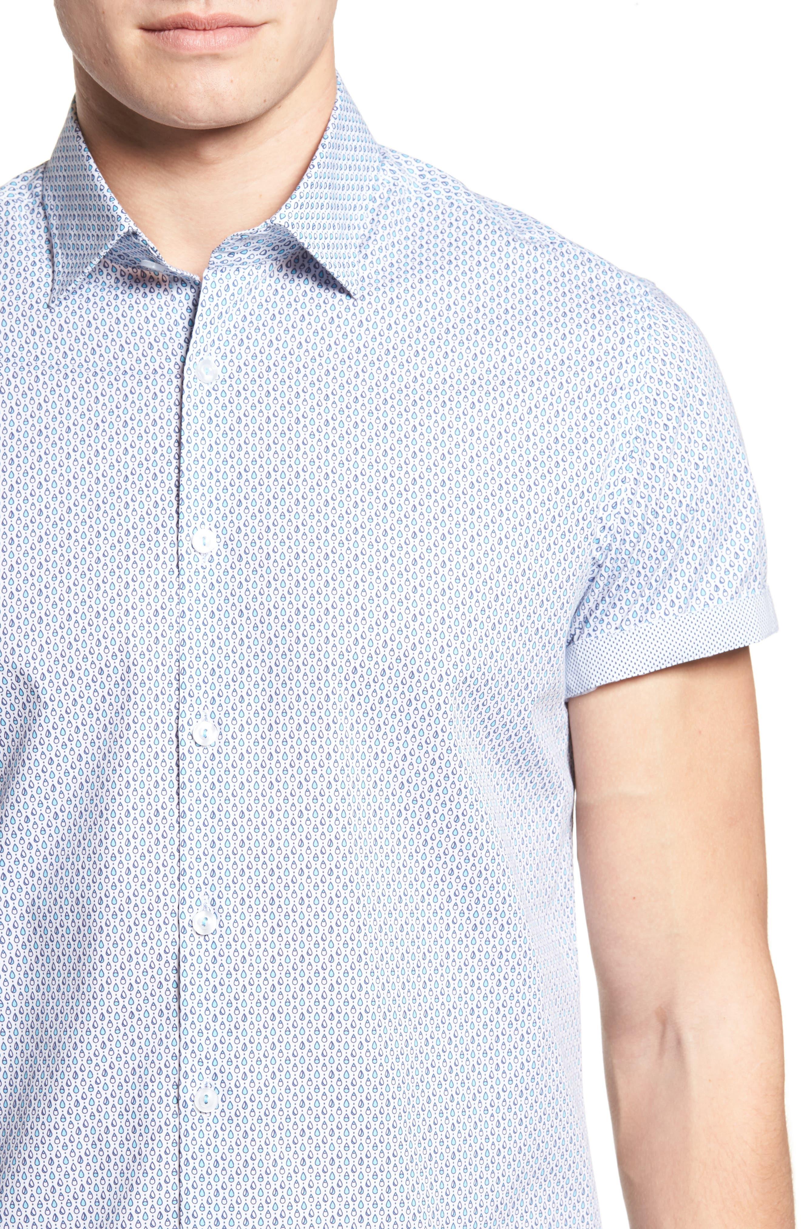 Trim Fit Teardrop Sport Shirt,                             Alternate thumbnail 4, color,                             White