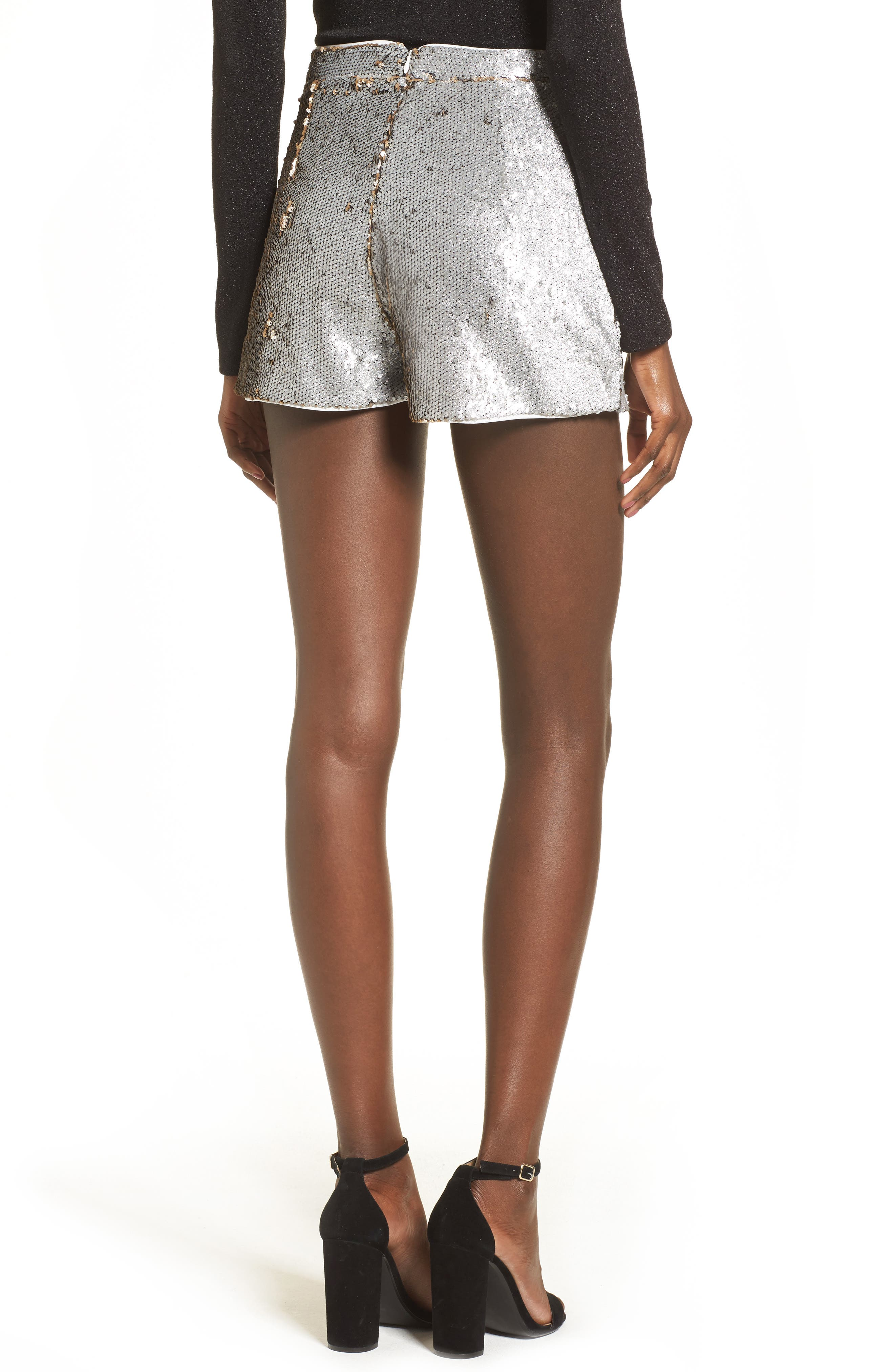 High Waist Sequin Shorts,                             Alternate thumbnail 2, color,                             Gold/ Silver