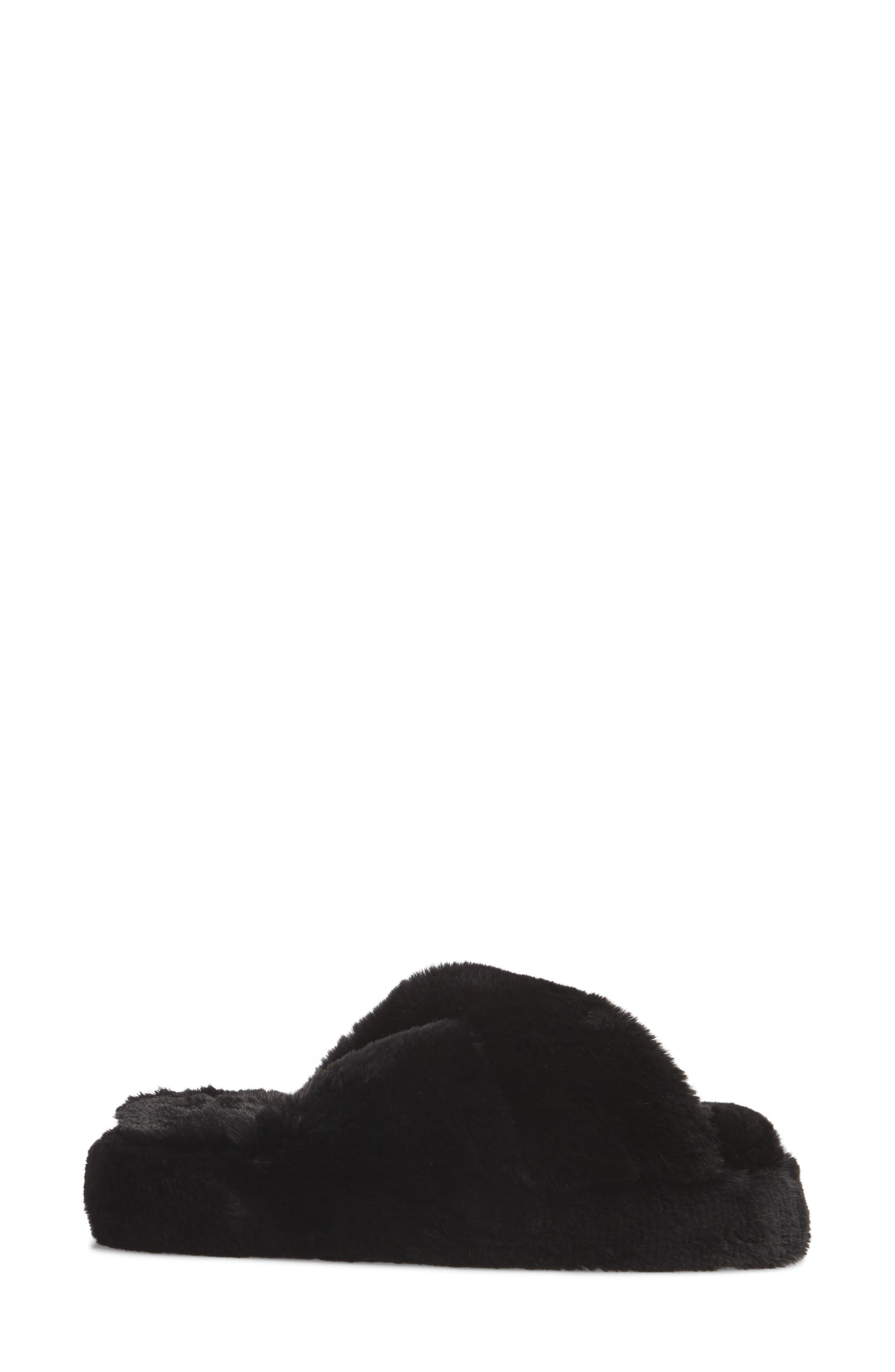 Comfy Faux Fur Slipper,                             Alternate thumbnail 3, color,                             Black