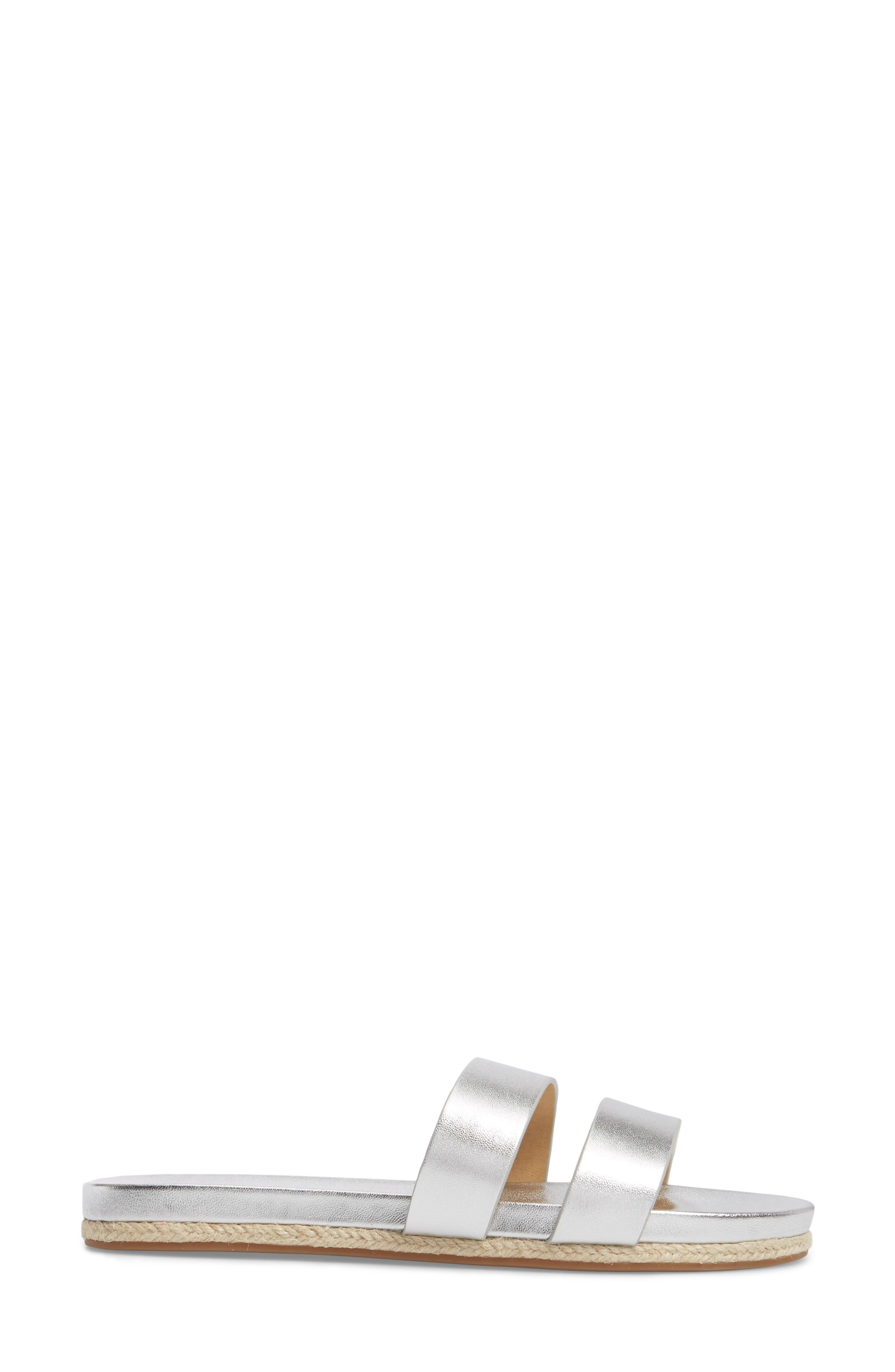 Brittani Slide Sandal,                             Alternate thumbnail 3, color,                             Silver Metallic Leather