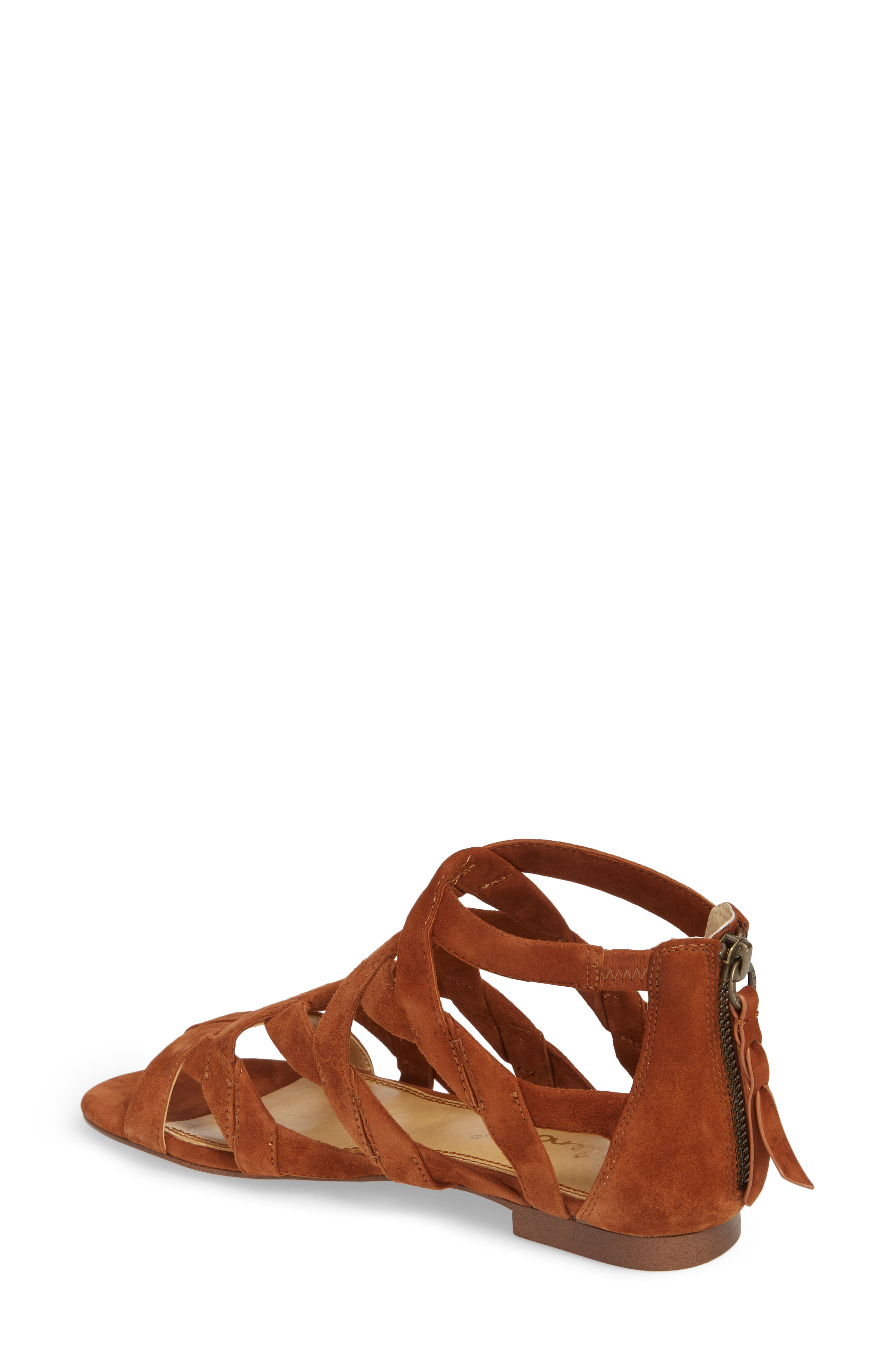 Barrett Mid Top Cage Sandal,                             Alternate thumbnail 2, color,                             Caramel Suede