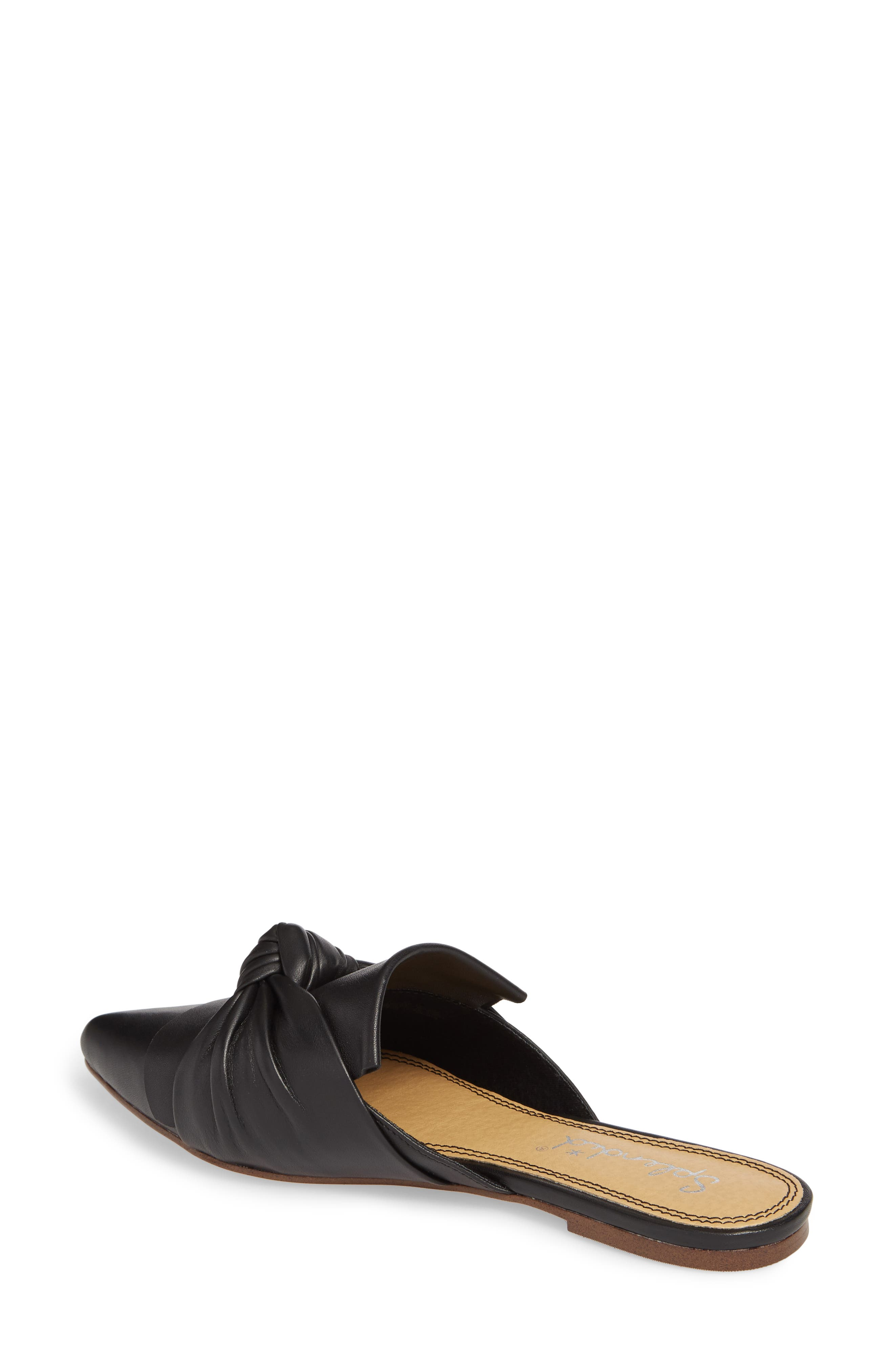 Bassett Knotted Pointy Toe Mule,                             Alternate thumbnail 2, color,                             Black Leather