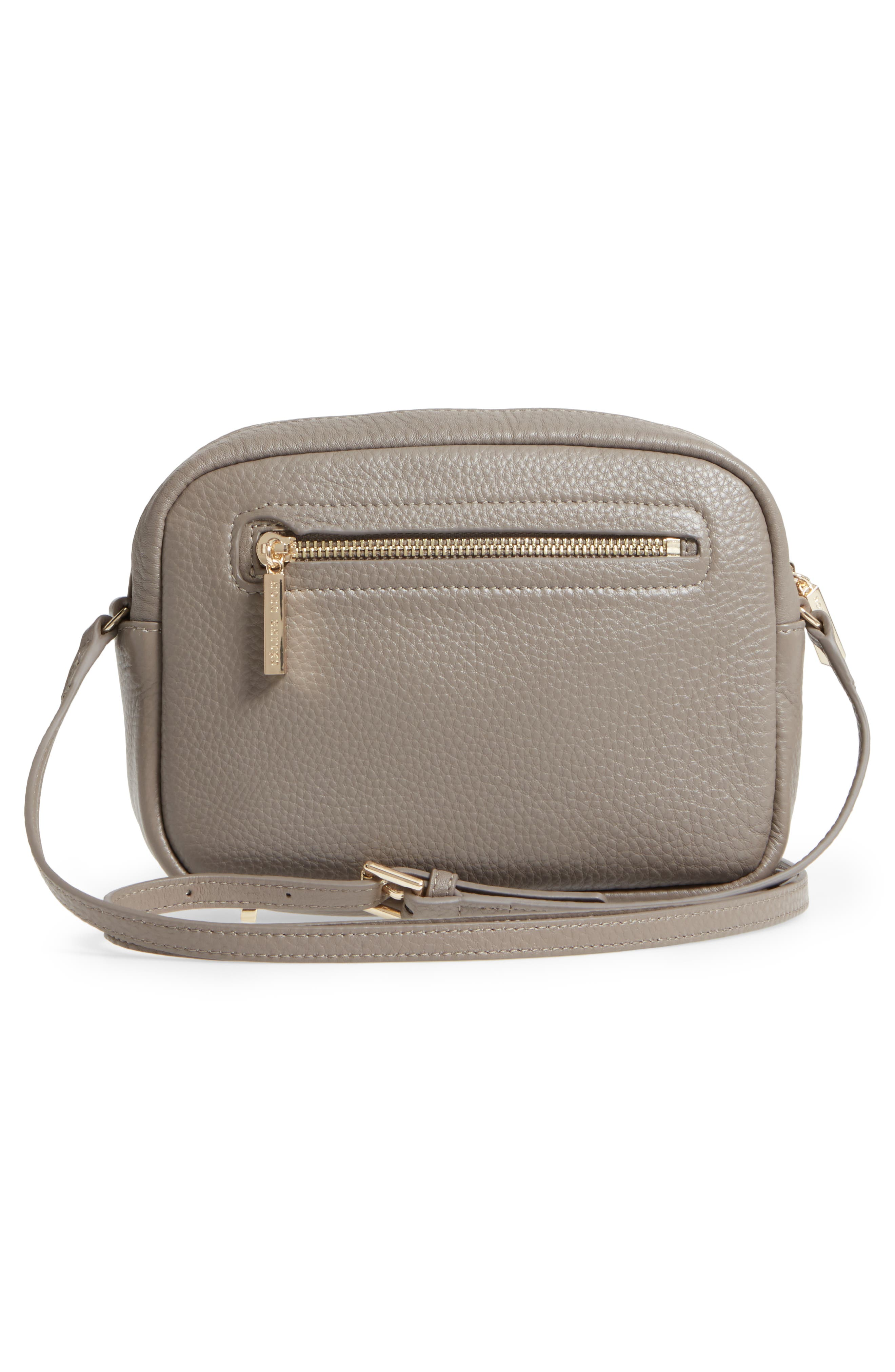 Céline Dion Adagio Leather Camera Crossbody Bag,                             Alternate thumbnail 3, color,                             Taupe