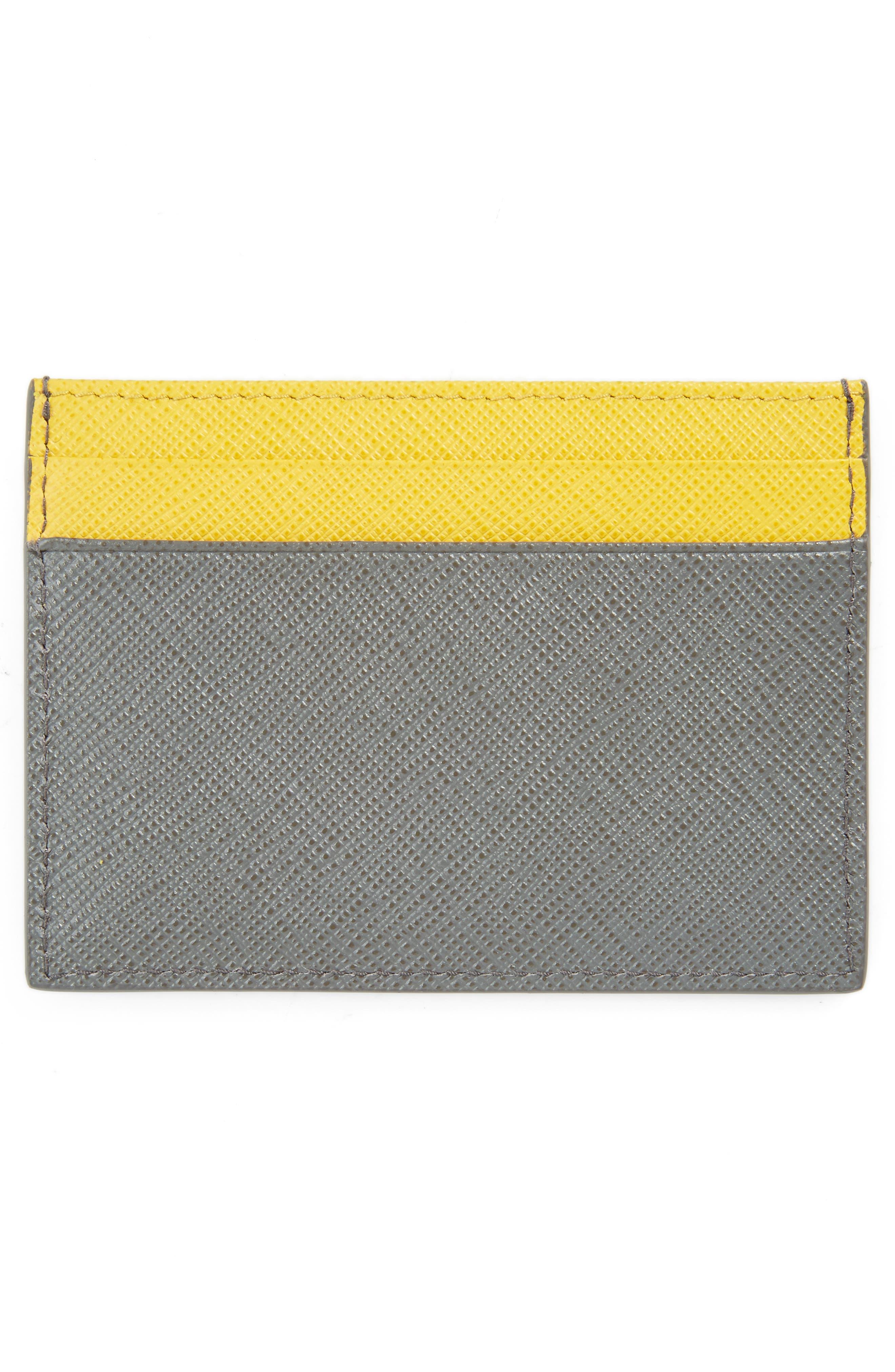 Alternate Image 2  - Prada Bicolor Saffiano Leather Card Case