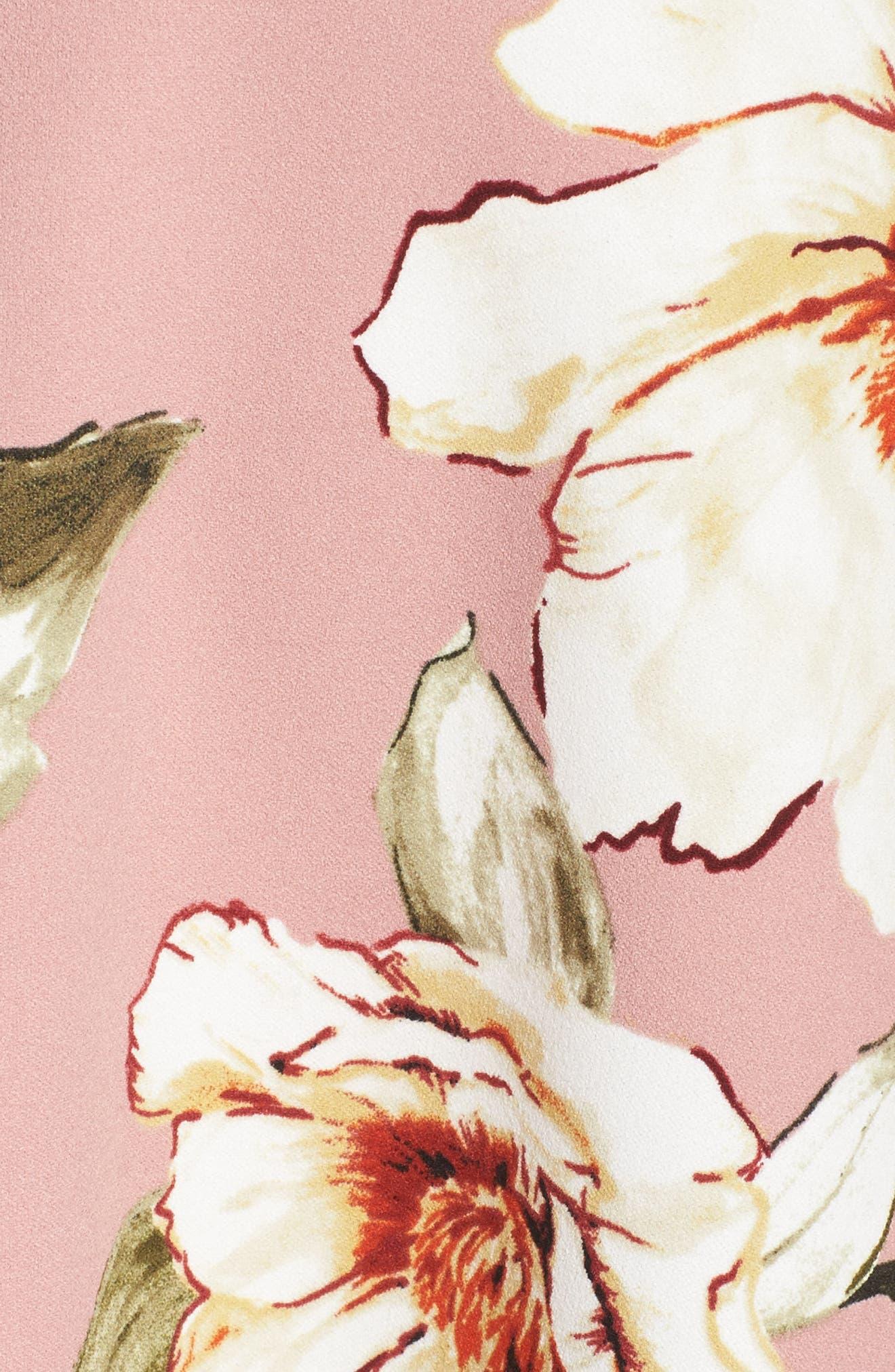 Tie Front Crepe Fit & Flare Dress,                             Alternate thumbnail 5, color,                             Mauve