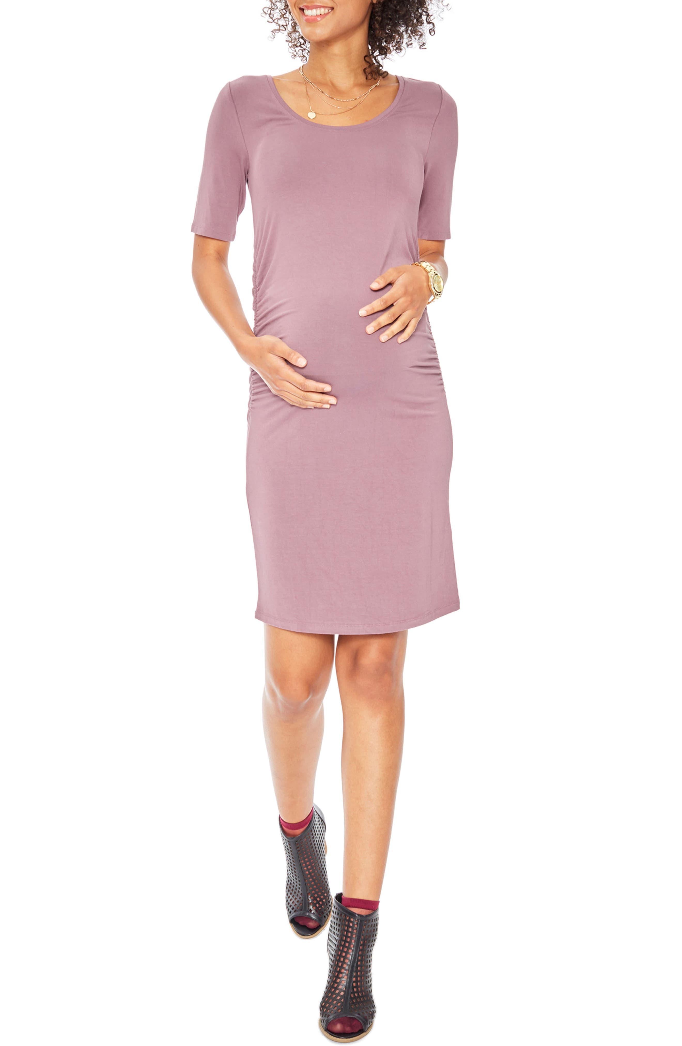 Ruth Maternity Dress,                         Main,                         color, Stone Rose
