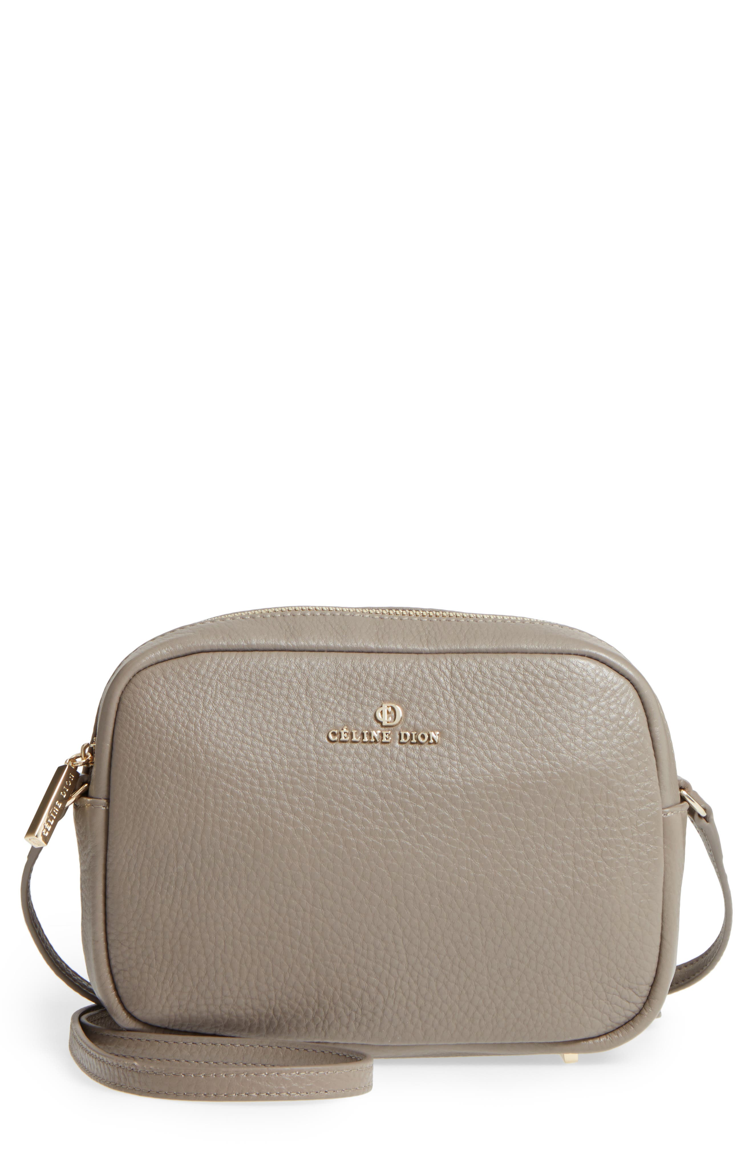 Céline Dion Adagio Leather Camera Crossbody Bag,                             Main thumbnail 1, color,                             Taupe