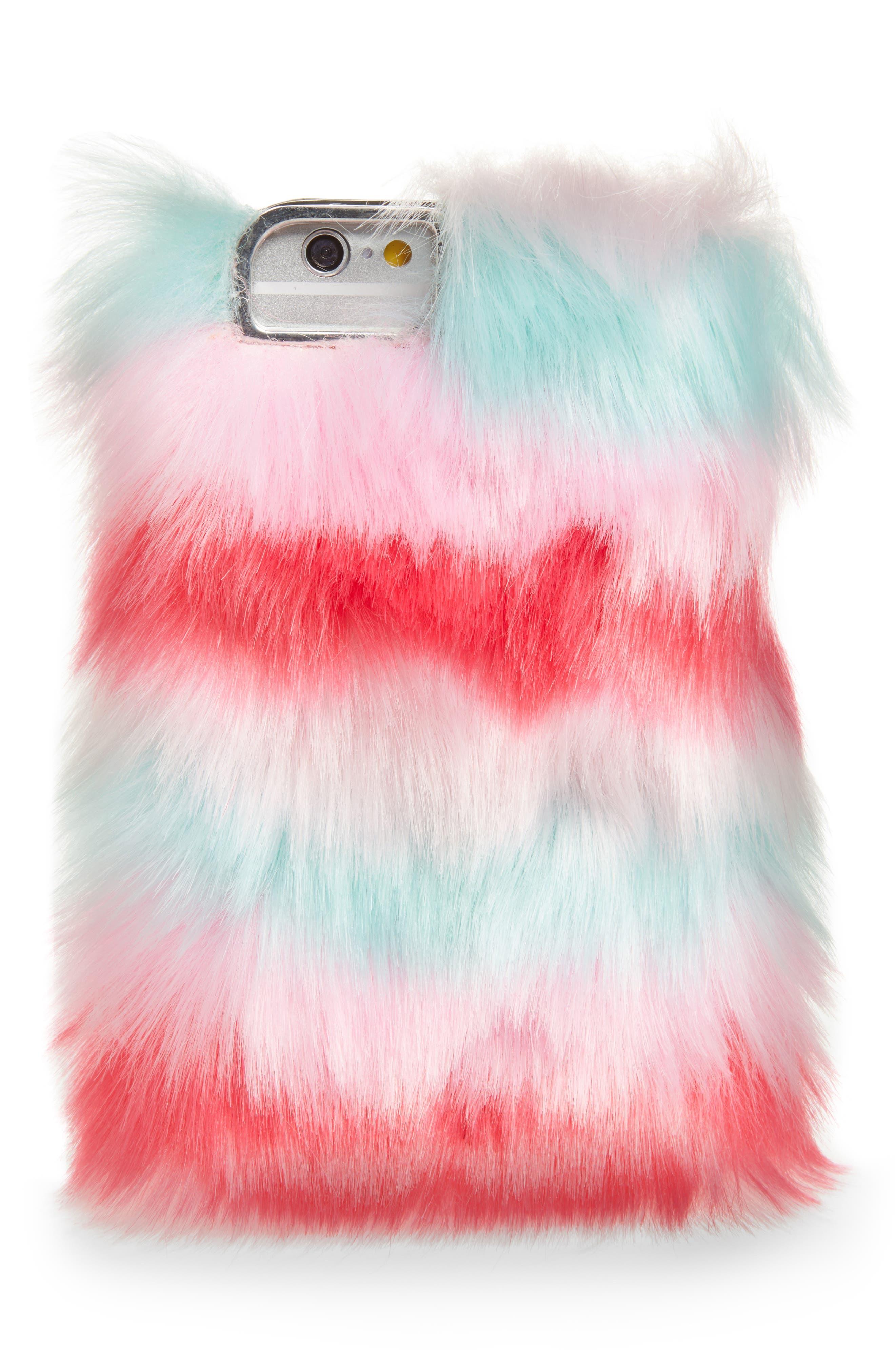 Skinny Dip Prism iPhone 6/6s/7/8 & 6/6s/7/8 Plus Faux Fur Case,                             Main thumbnail 1, color,                             Multi