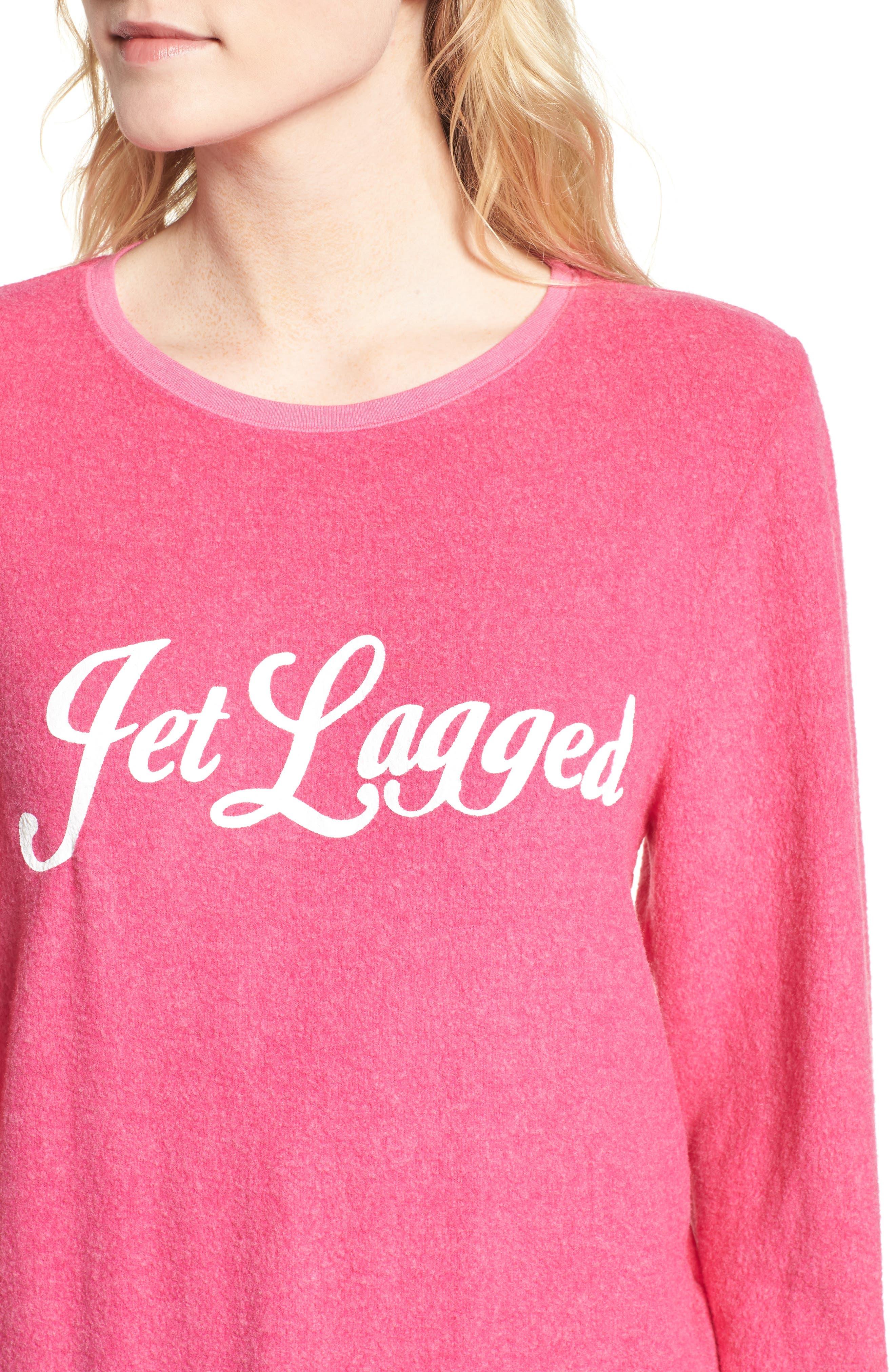 Jet Lagged Sweatshirt,                             Alternate thumbnail 4, color,                             Malibu Pink