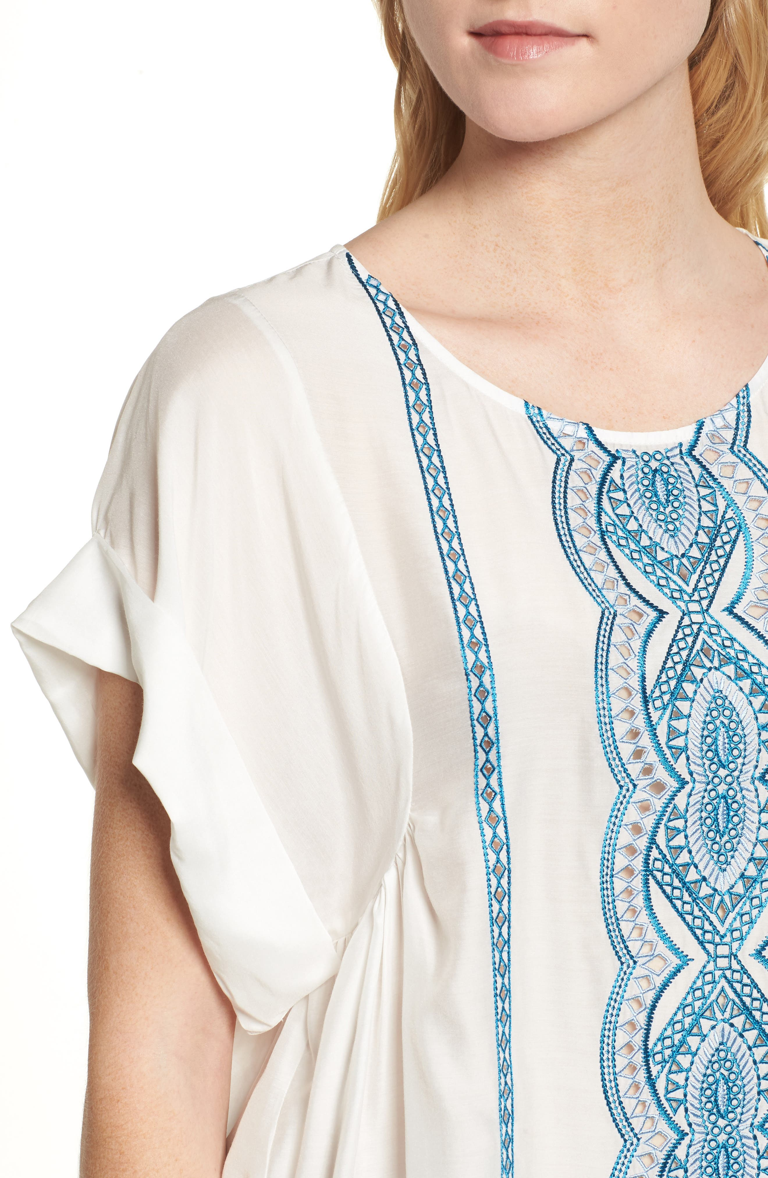 Embroidered Top,                             Alternate thumbnail 4, color,                             Natural